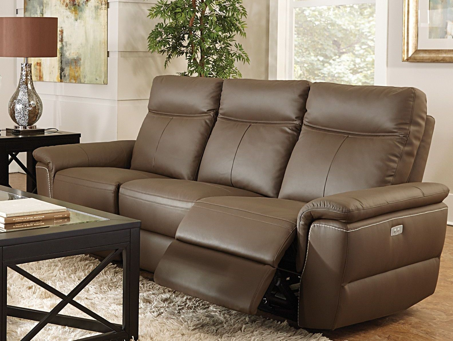 Olympia brown power double reclining living room set from for Double chairs for living room