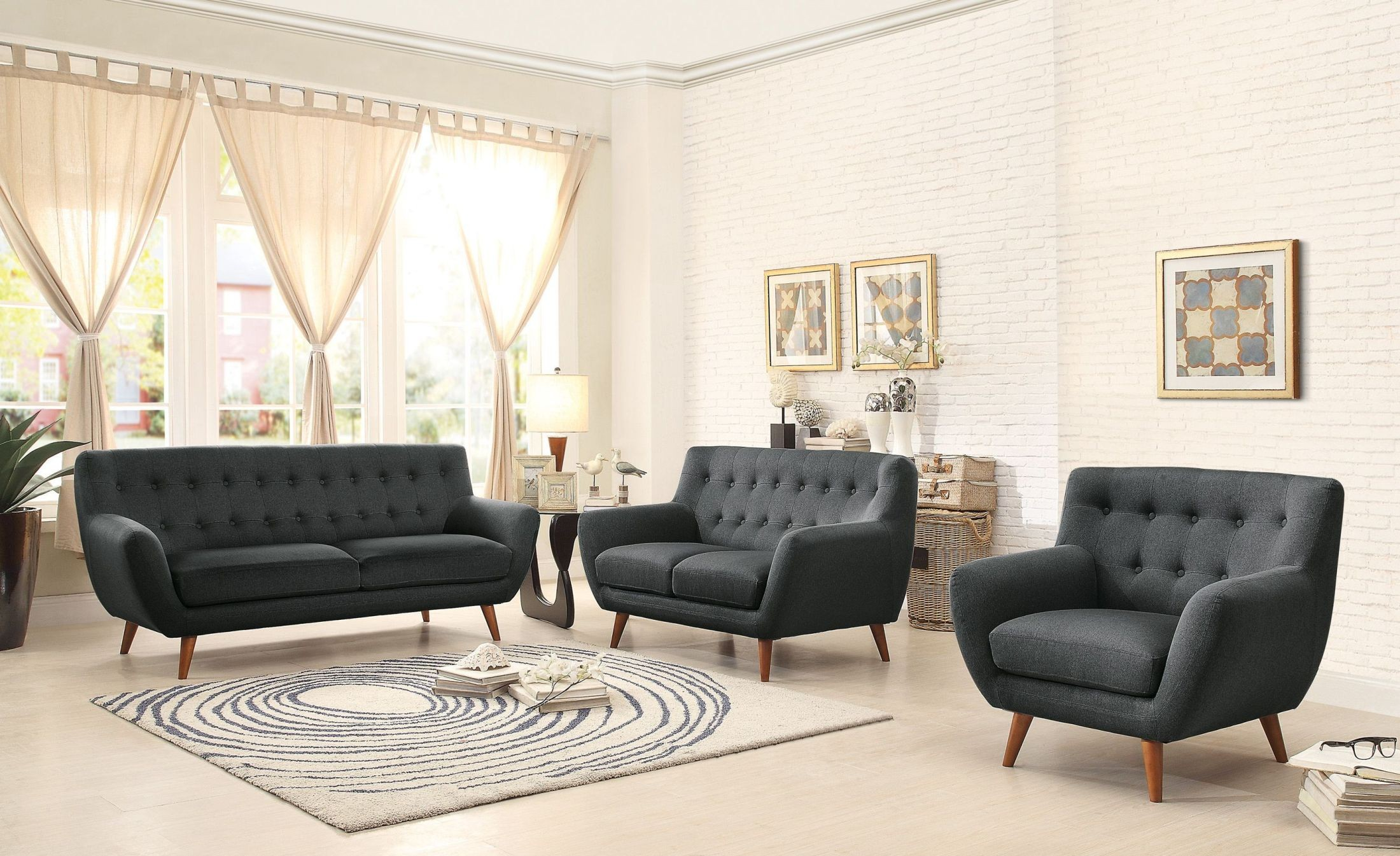Anke Dark Gray Living Room Set 8312dg 3 Homelegance