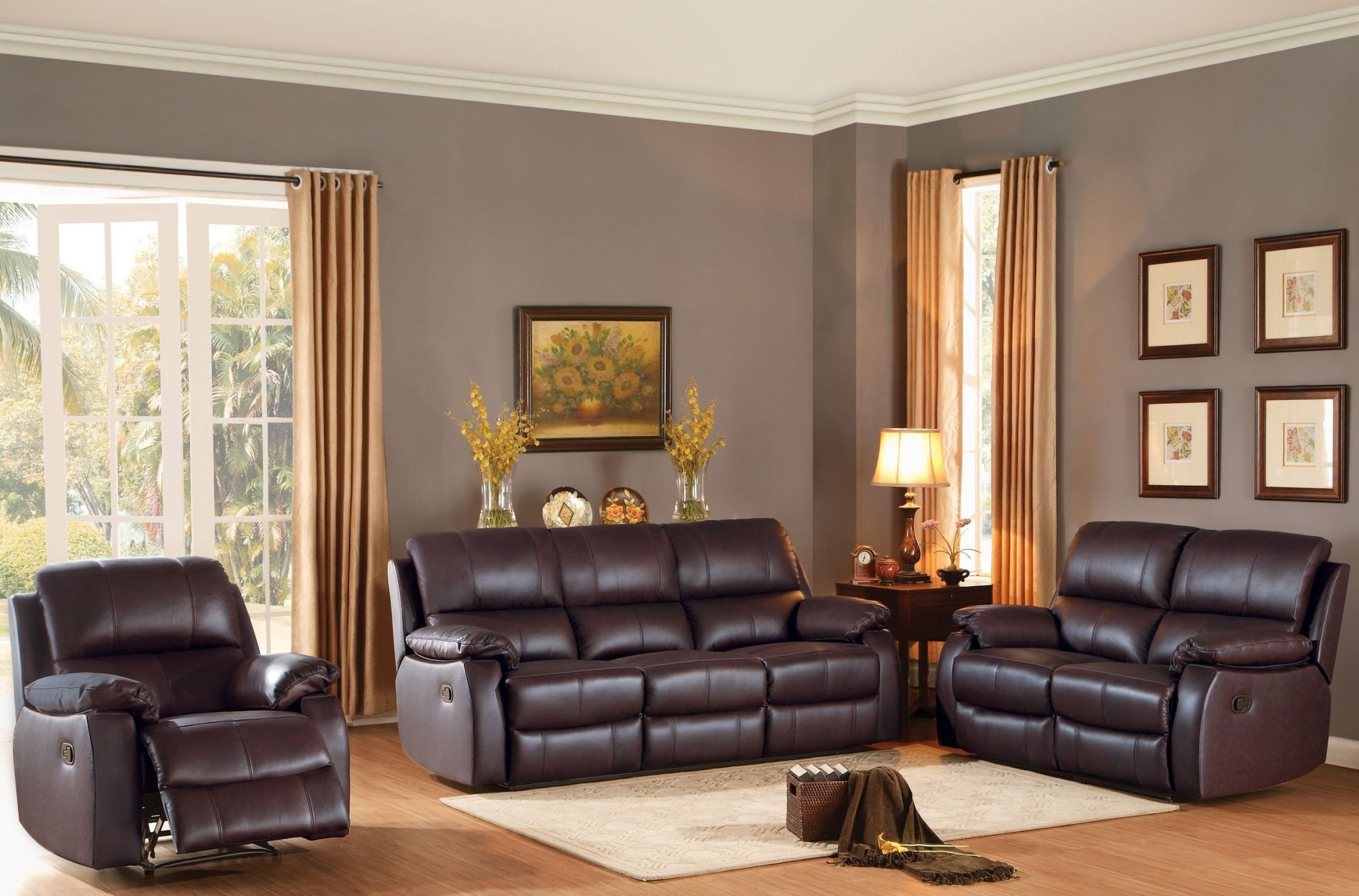 Jedidiah brown double reclining living room set from for Double chairs for living room