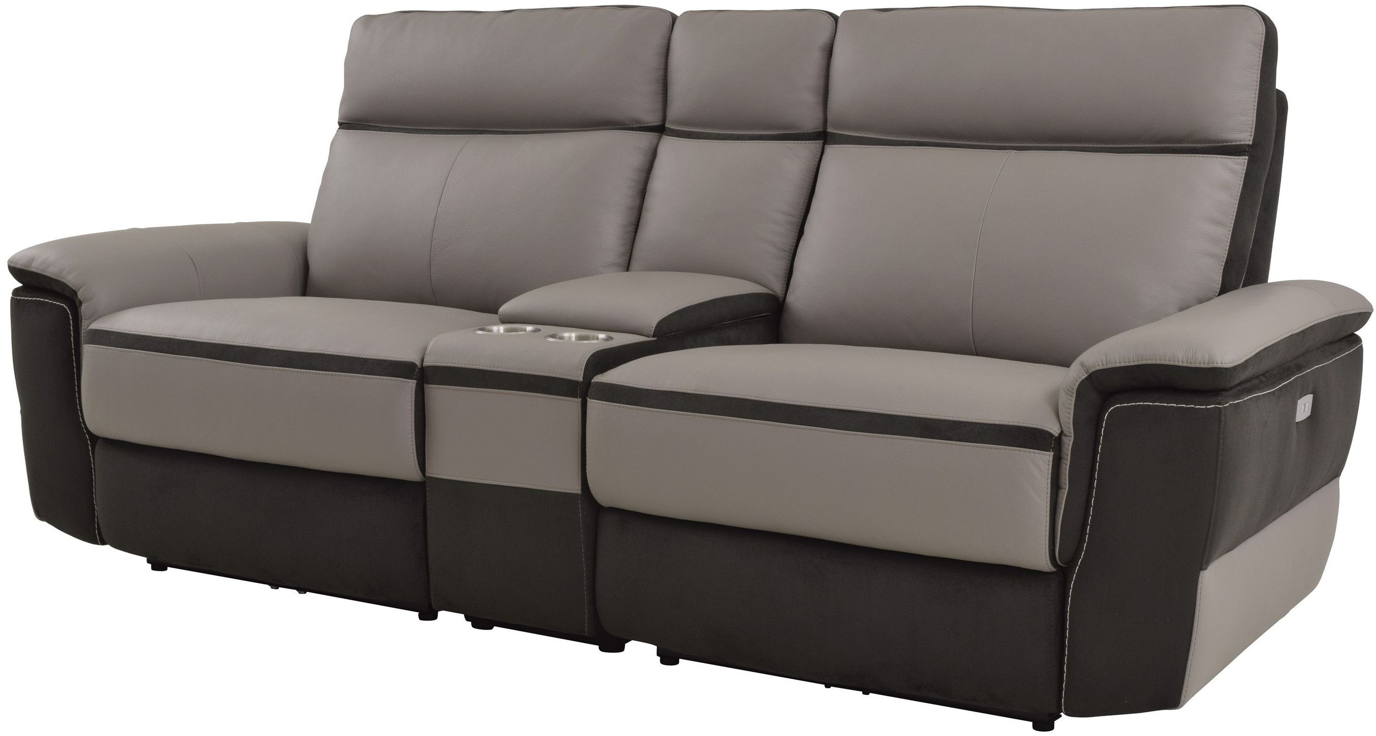 Laertes Taupe Power Double Reclining Console Loveseat From Homelegance Coleman Furniture