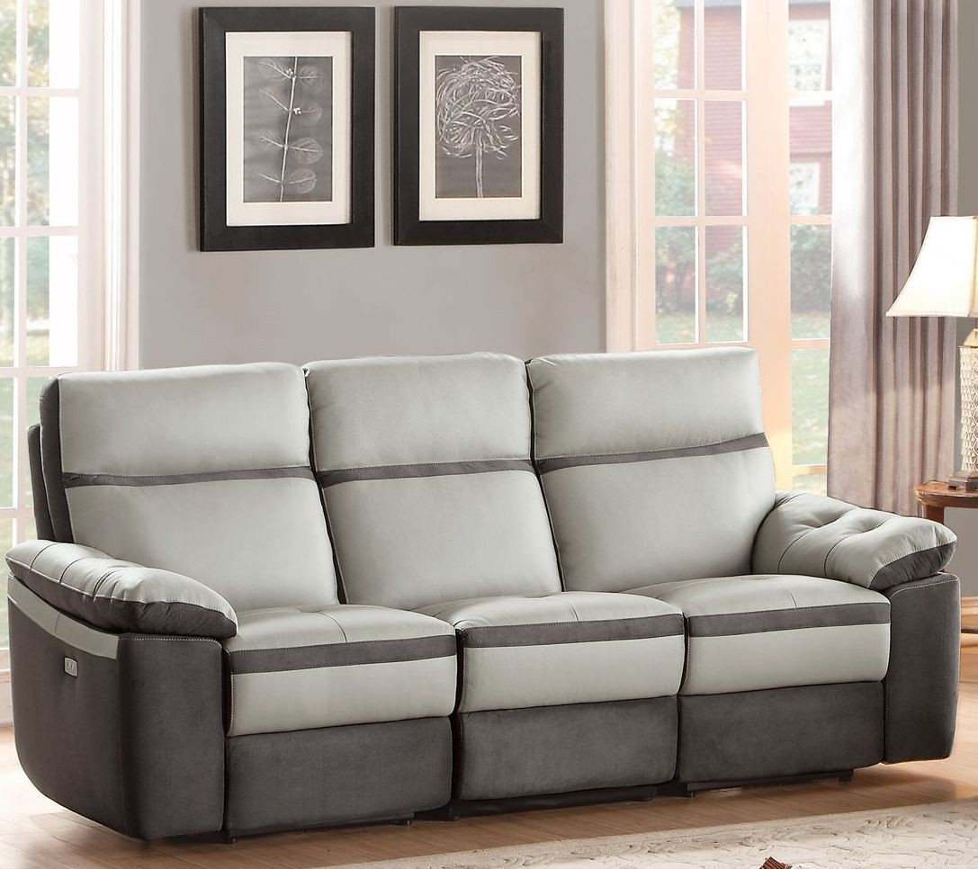 Otto gray power double reclining sofa from homelegance for Grey double divan