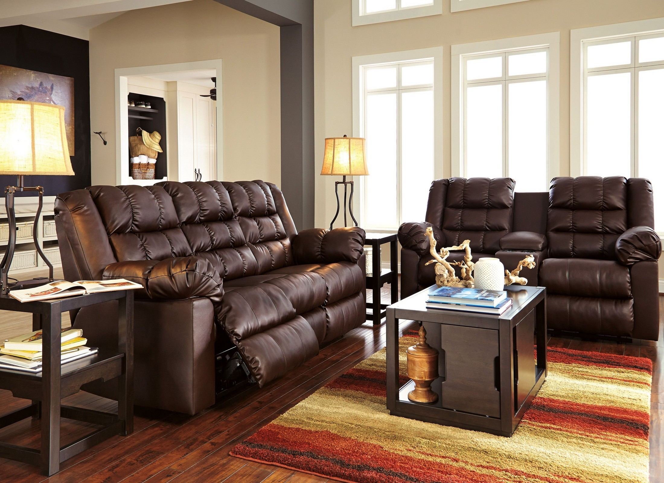 Brolayne durablend brown reclining living room set from for Living room 94