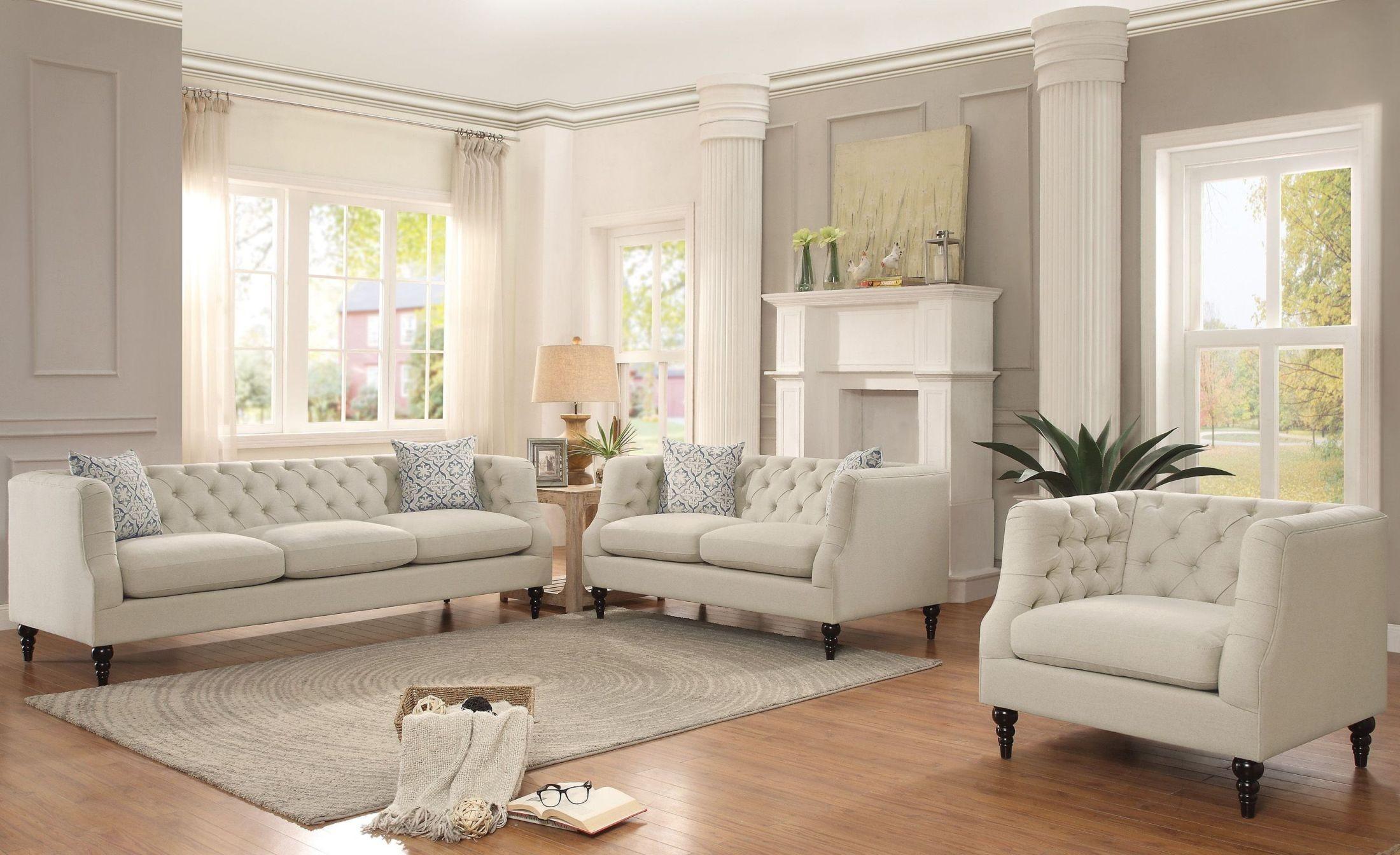 Radley Cream Living Room Set from Homelegance | Coleman Furniture