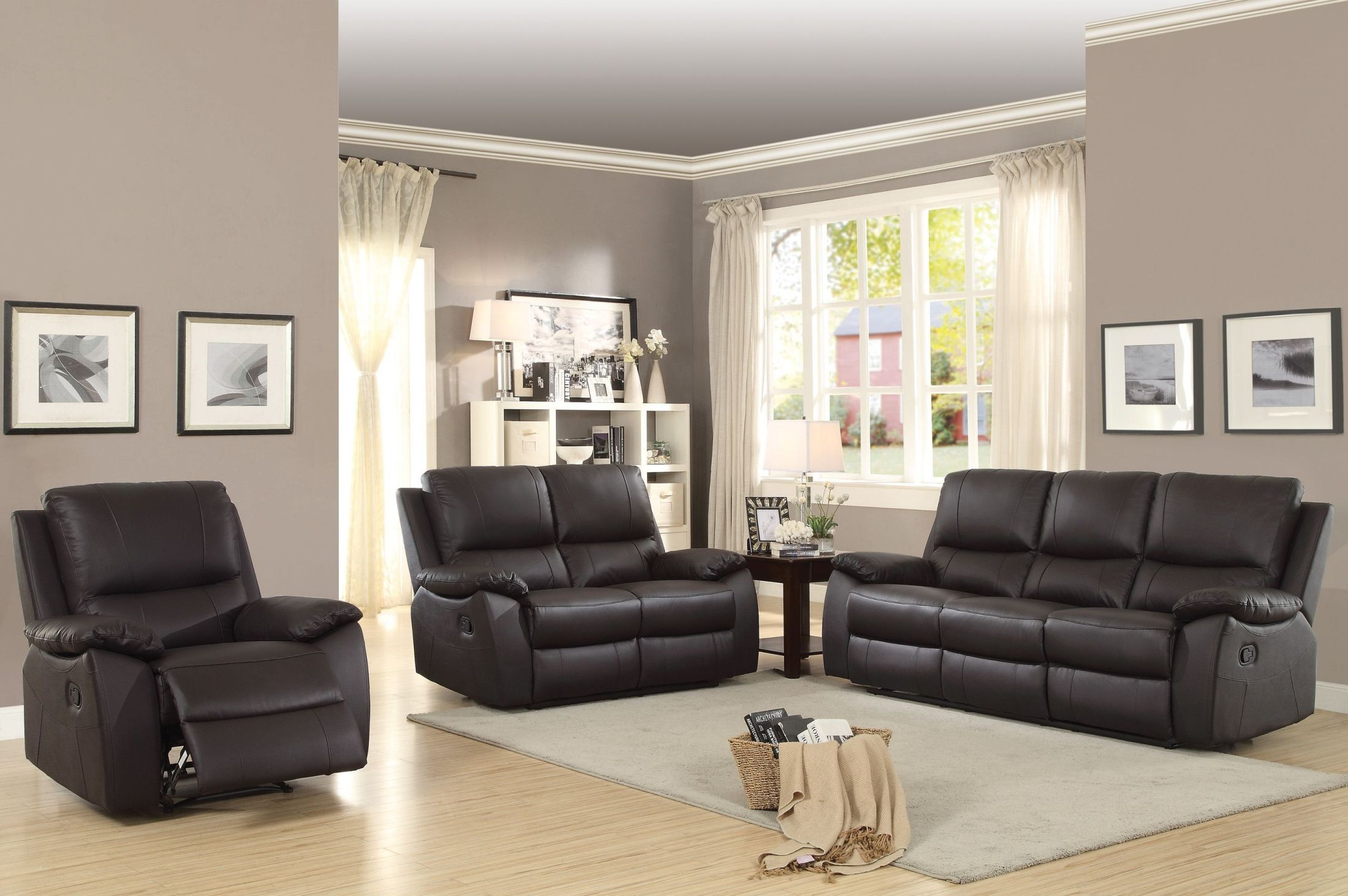 Greeley Brown Double Reclining Living Room Set From Homelegance Coleman Furniture