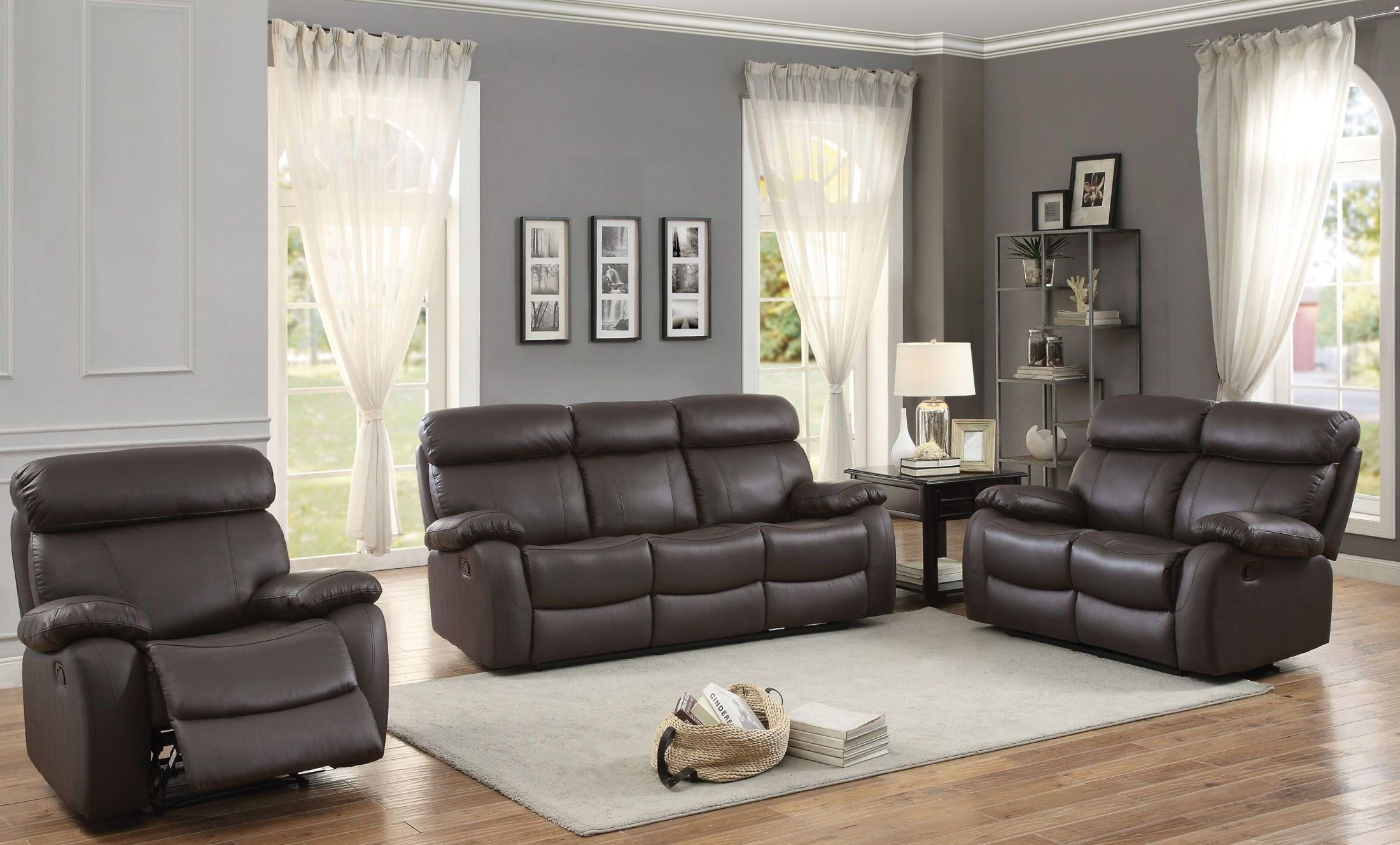 pendu brown double reclining living room set from homelegance coleman furniture