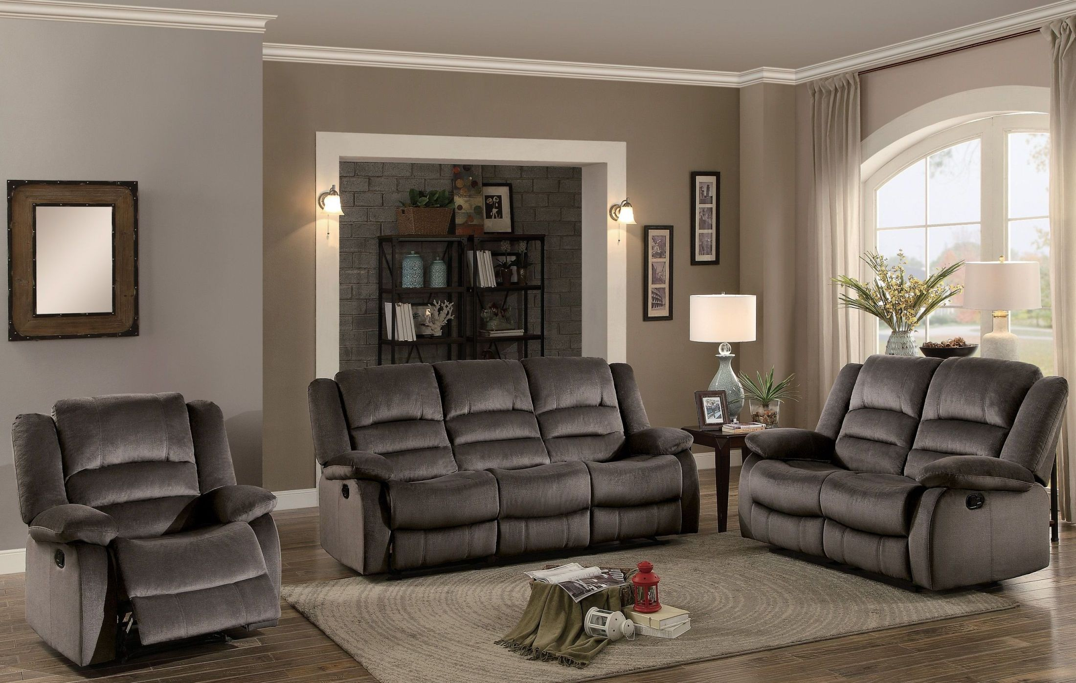 Jarita chocolate double reclining living room set from homelegance coleman furniture for Living room with two recliners