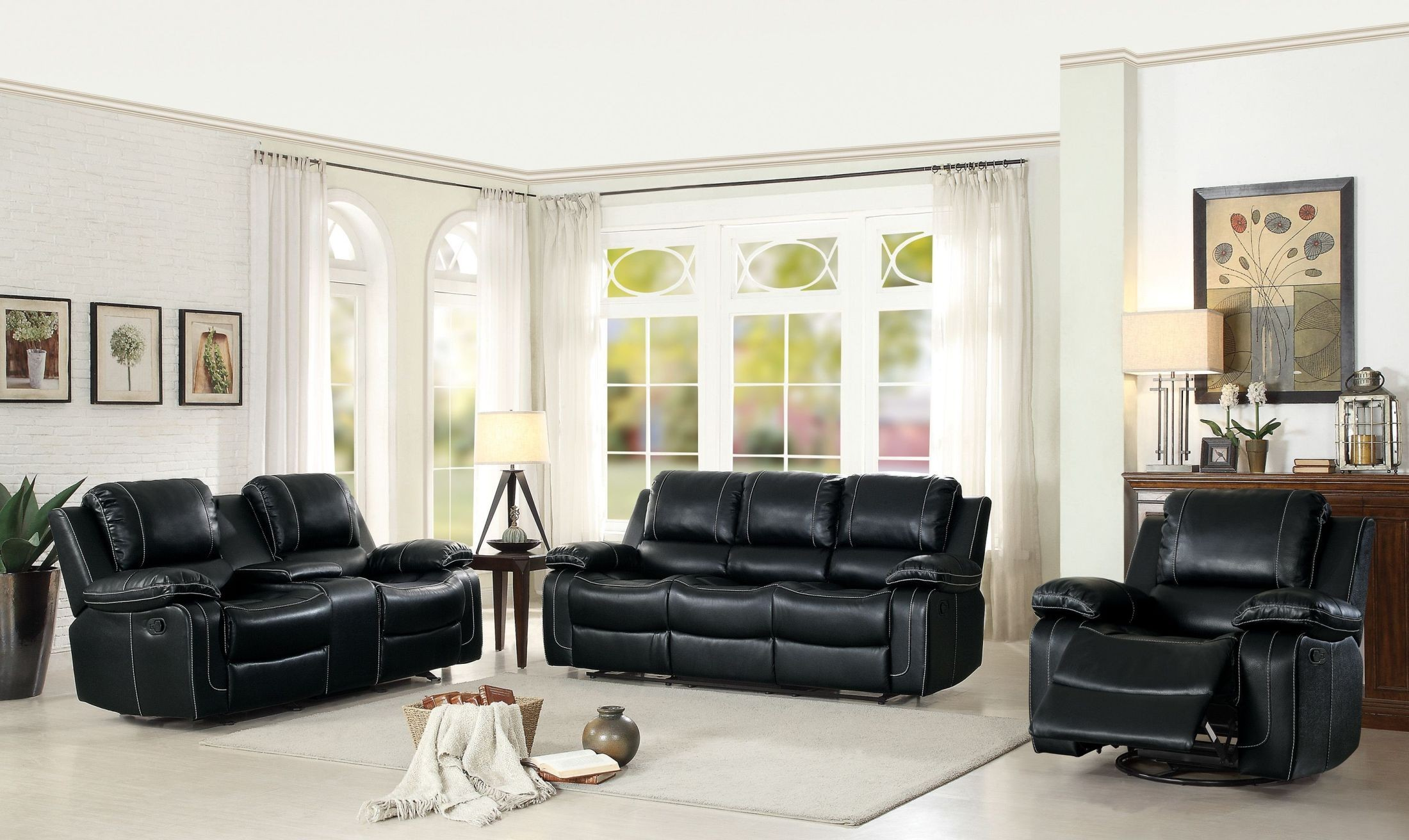 Oriole Black Double Reclining Living Room Set From Homelegance Coleman Furniture