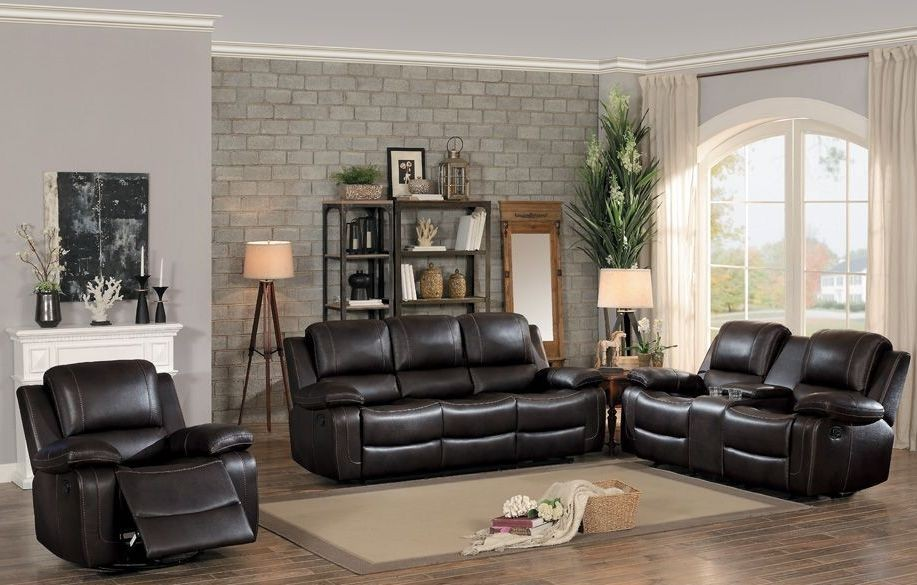 oriole dark brown double reclining living room set from