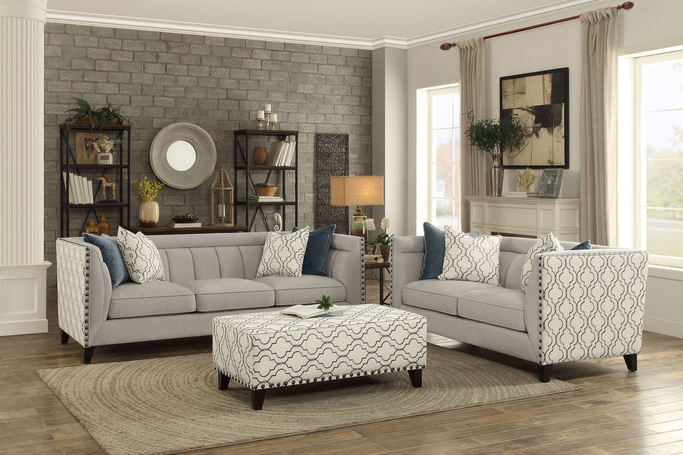 temptation light grey living room set from homelegance. Black Bedroom Furniture Sets. Home Design Ideas