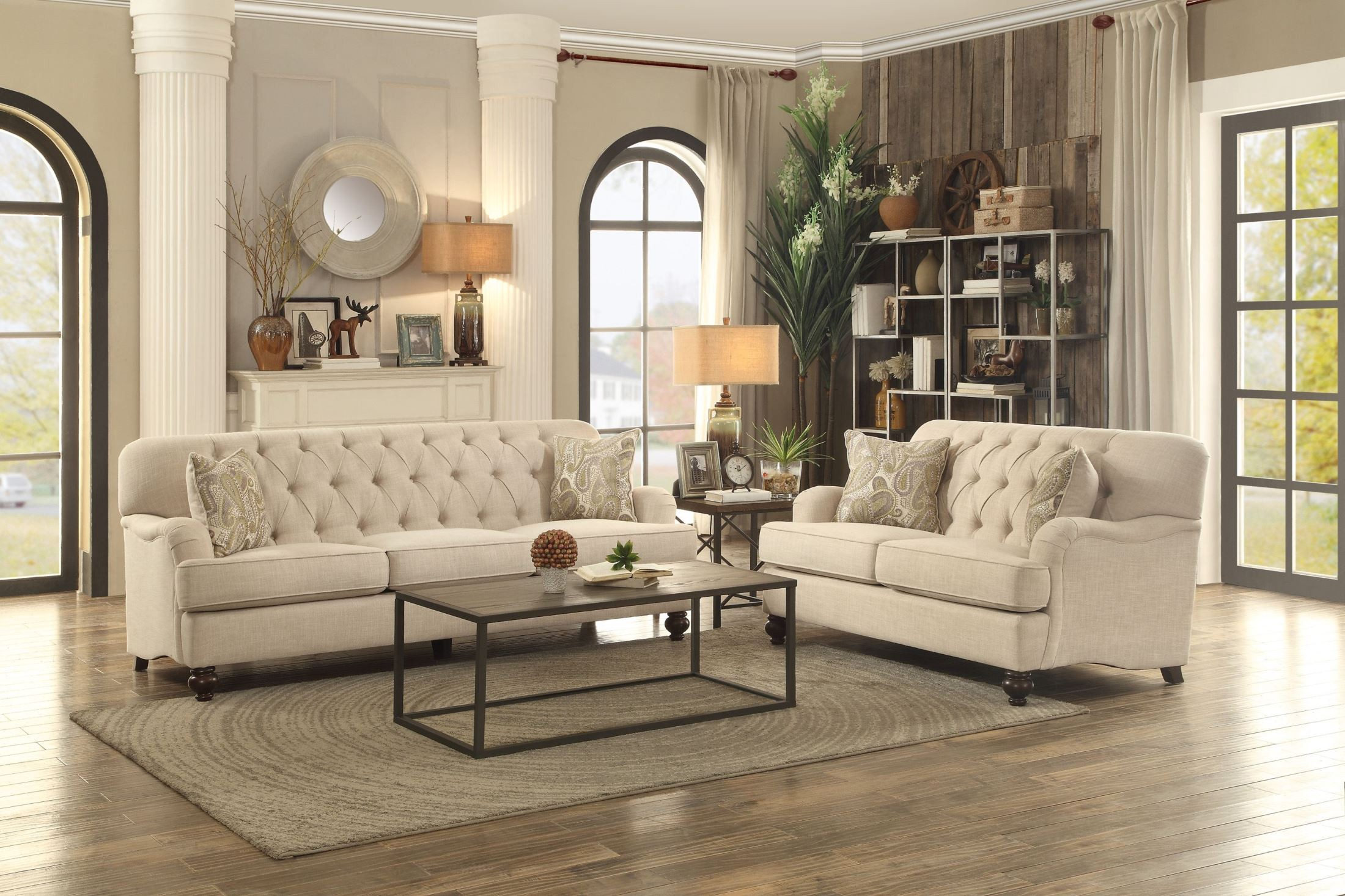 Clemencia Natural Tone Living Room Set From Homelegance Coleman  # Muebles Nicasio Orono