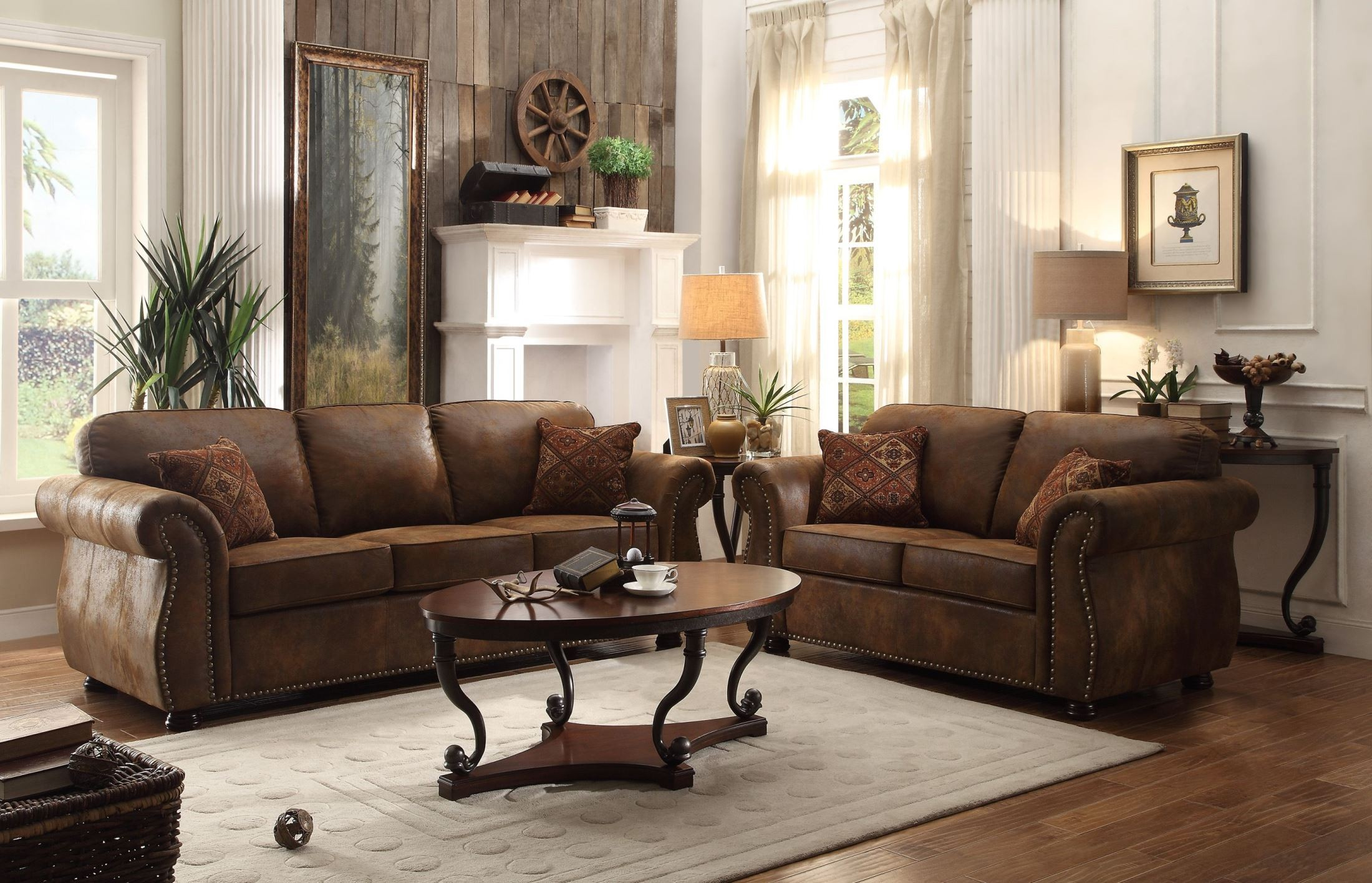 two sofa living room corvallis brown living room set from homelegance 8405bj 3 15380