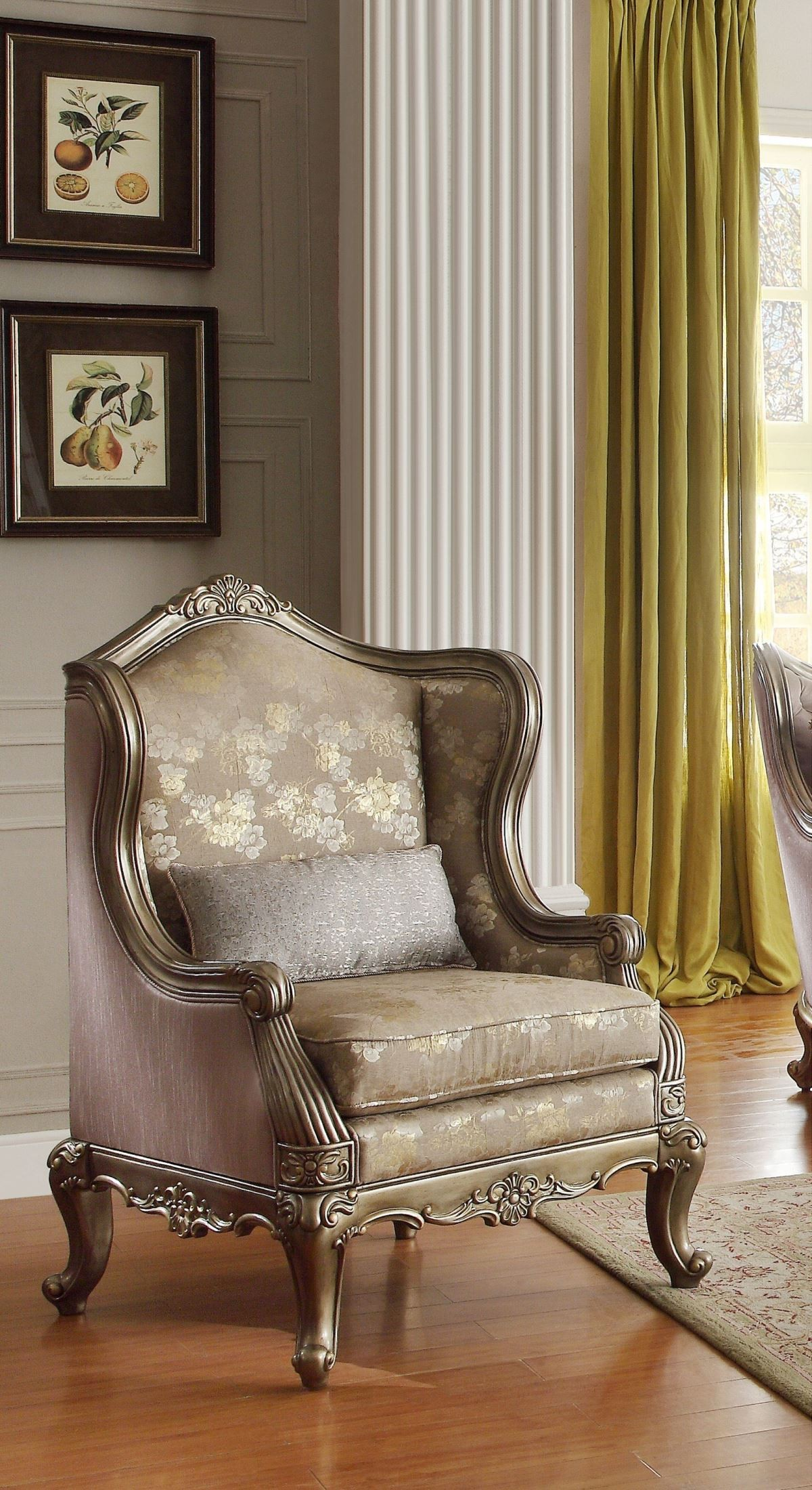 Fiorella Gold Faux Silk Accent Chair From Homelegance