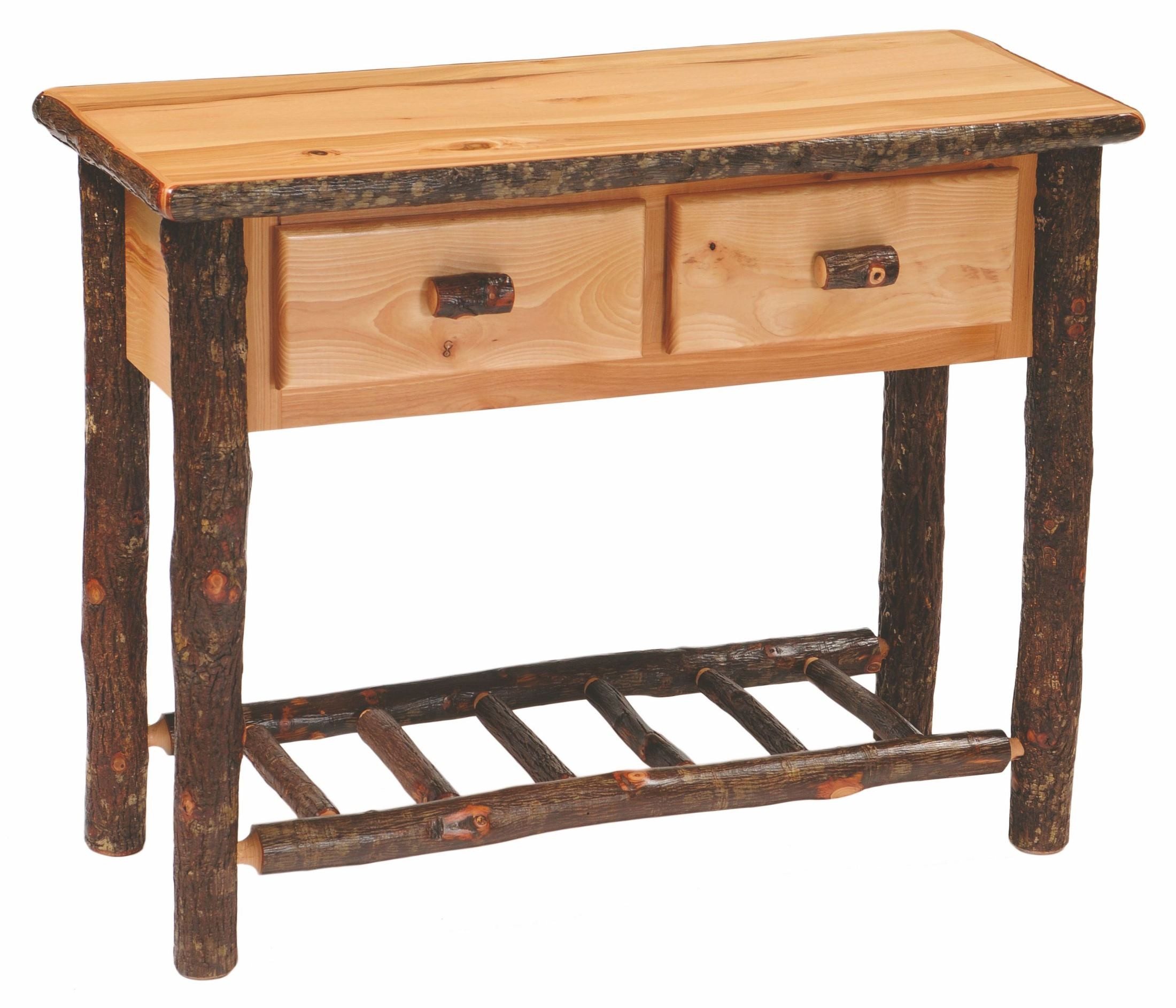 Hickory 2 drawer sofa table from fireside lodge 84134 - Contemporary console tables with drawers ...