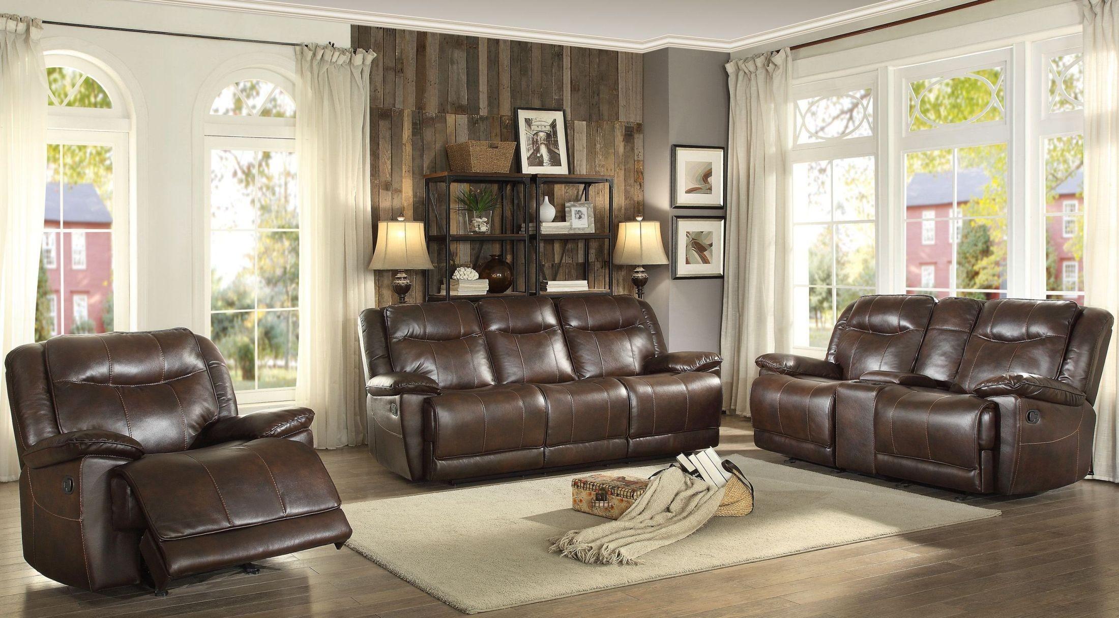 wasola dark brown triple reclining living room set from homelegance coleman furniture. Black Bedroom Furniture Sets. Home Design Ideas