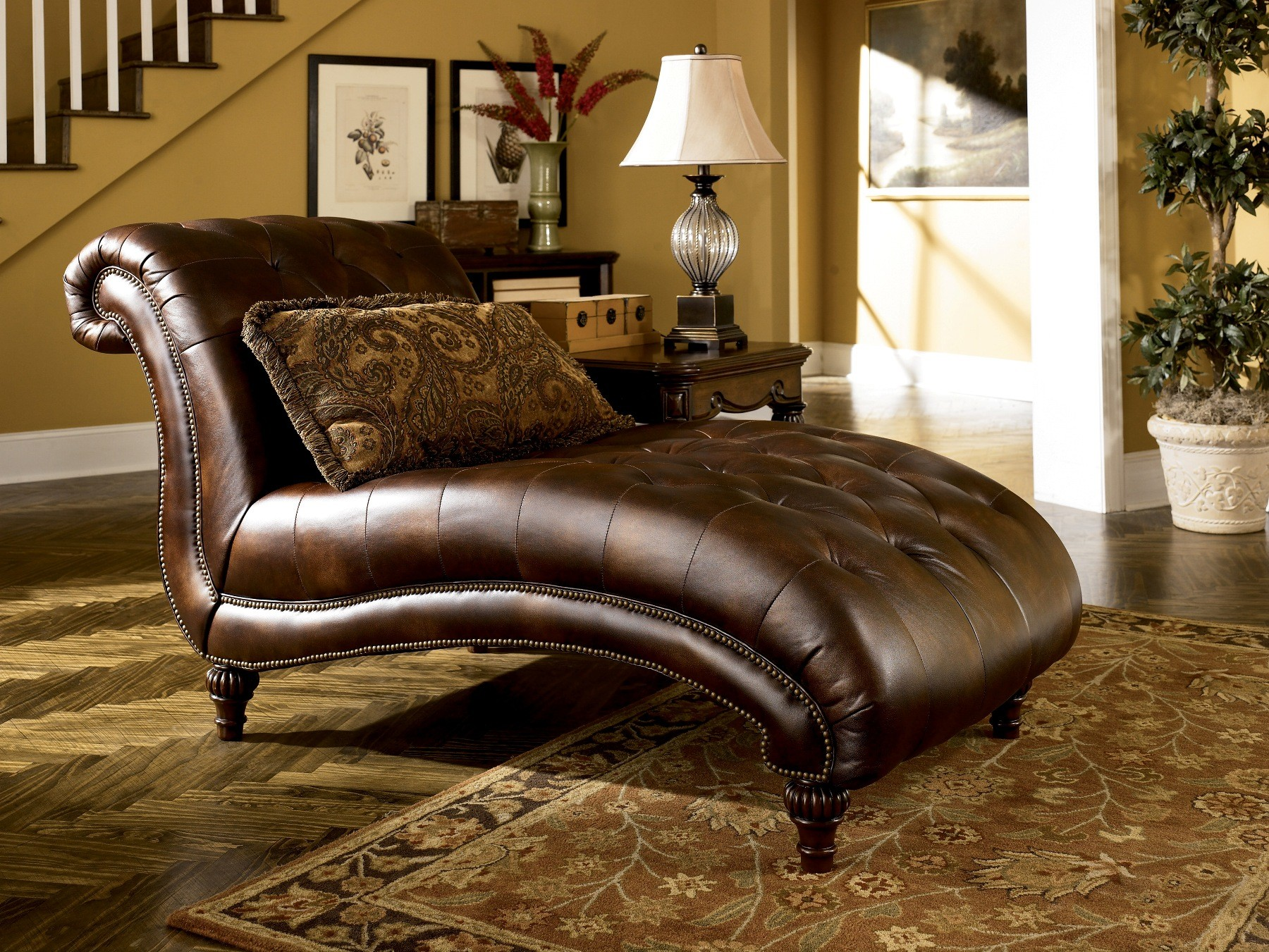 Claremore antique chaise from ashley 8430315 coleman for Ashley claremore chaise