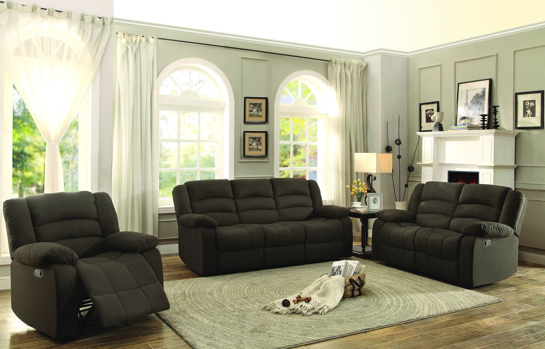 Greenville Brown Double Reclining Living Room Set From