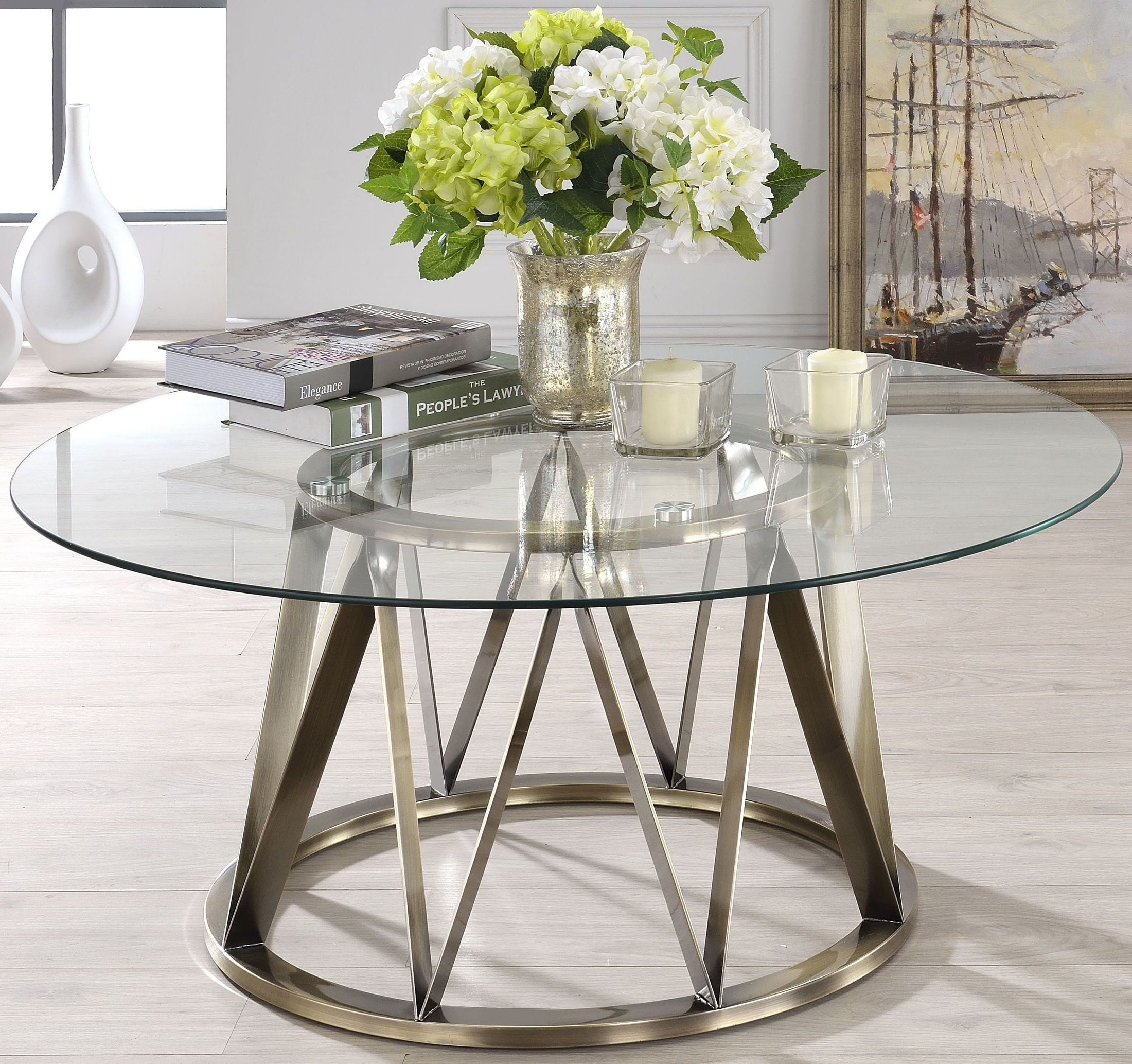 Perjan Antique Brass And Clear Glass Coffee Table From