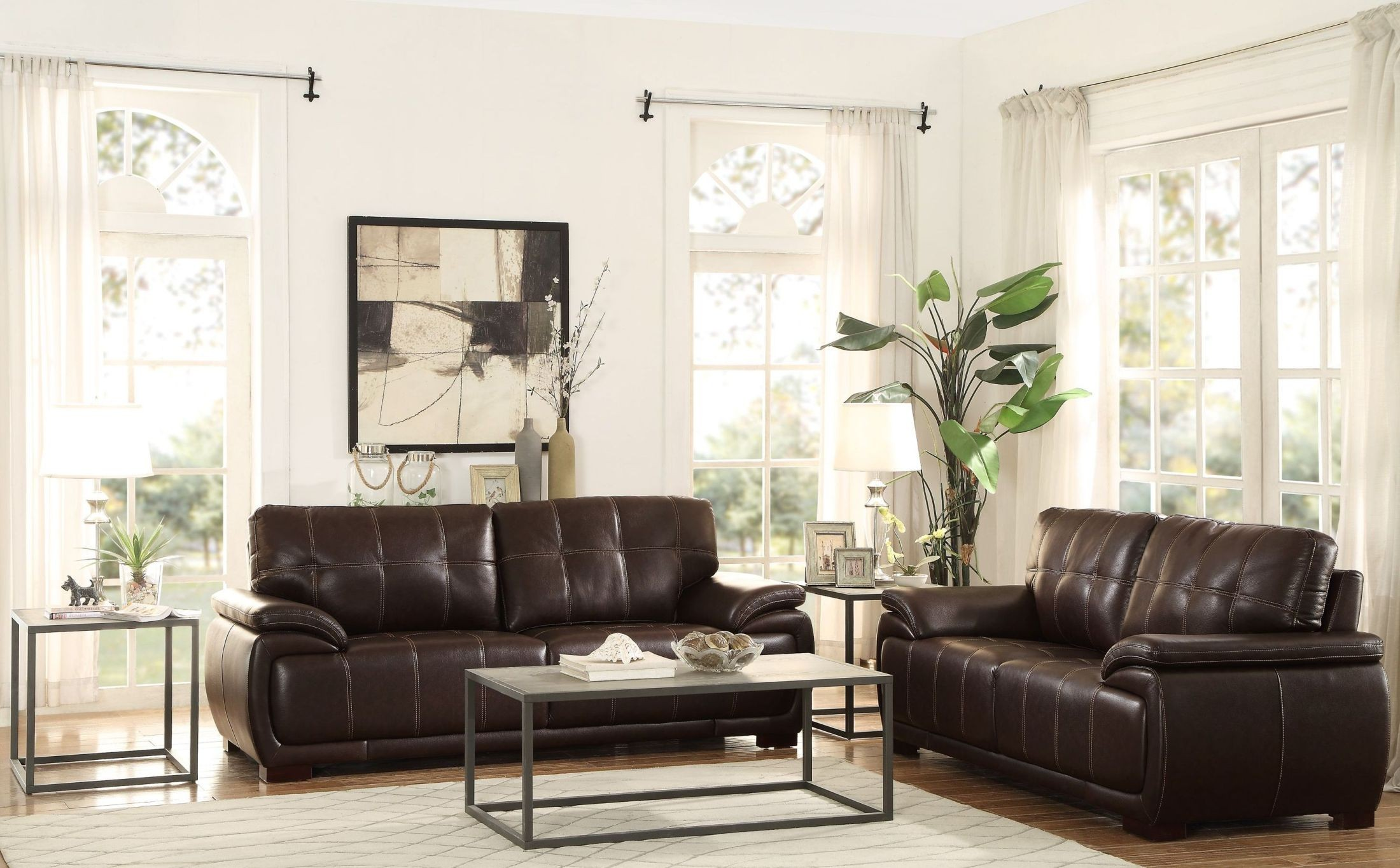 Alpena brown living room set from homelegance coleman for Brown living room set