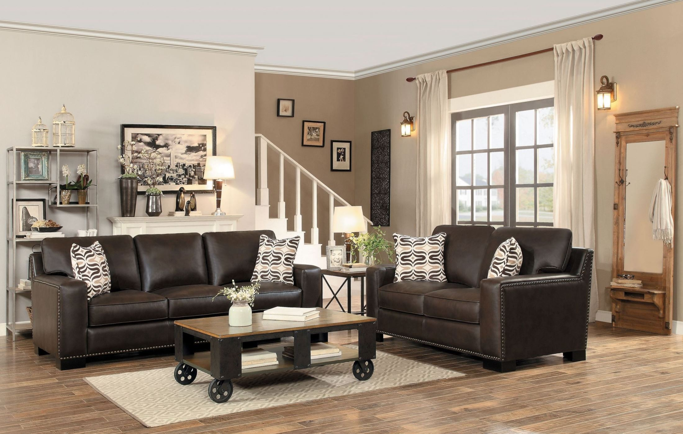 Gowan dark brown living room set from homelegance for Dark brown living room set