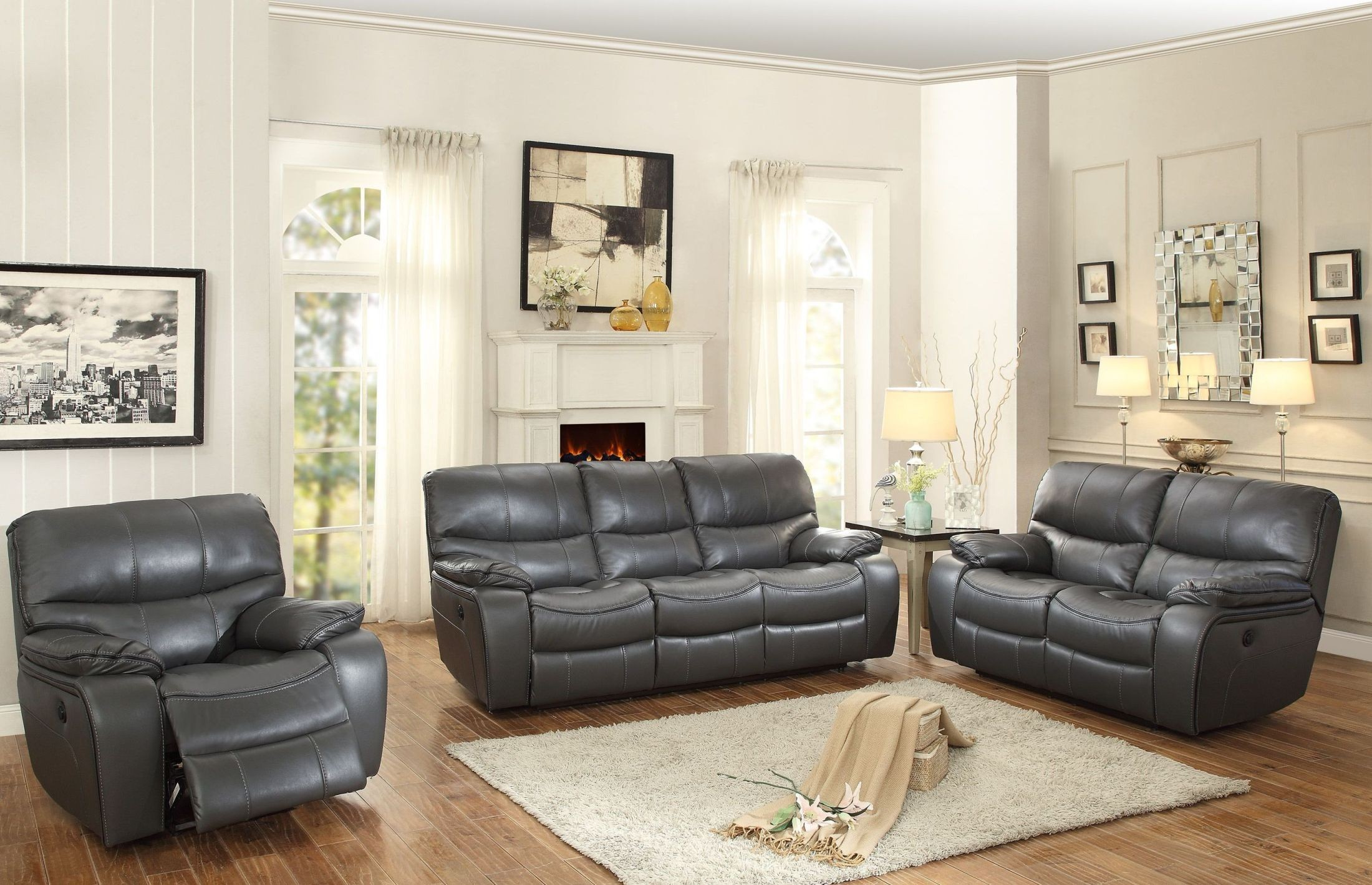 pecos gray double reclining living room set from homelegance coleman furniture. Black Bedroom Furniture Sets. Home Design Ideas