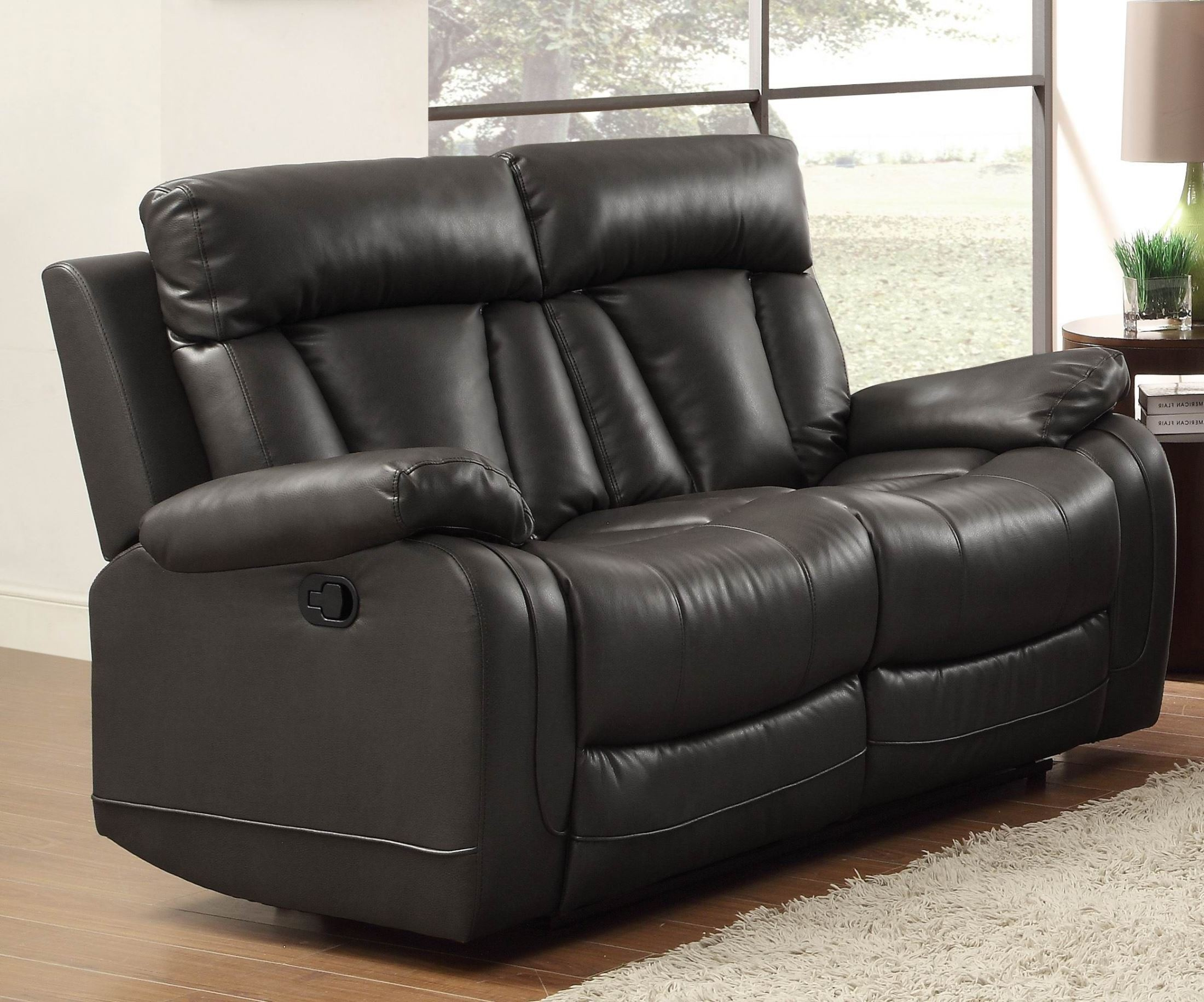 Ackerman Black Double Reclining Loveseat From Homelegance 8500blk 2 Coleman Furniture
