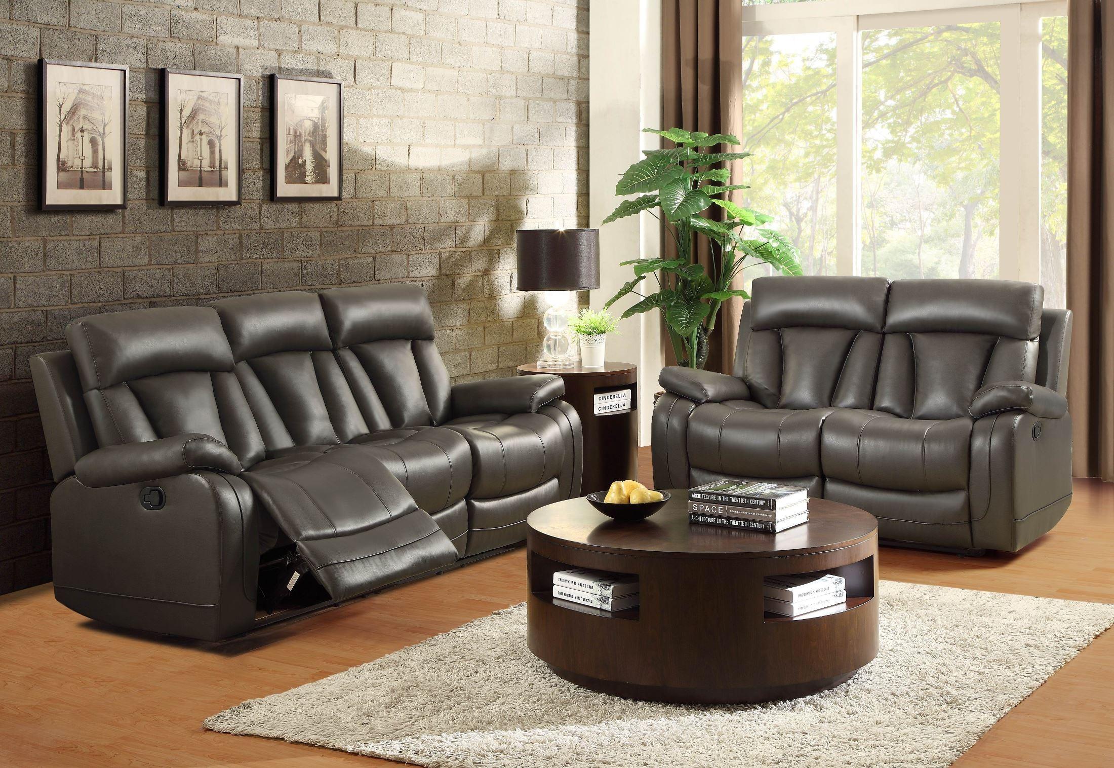 ackerman grey reclining living room set from homelegance