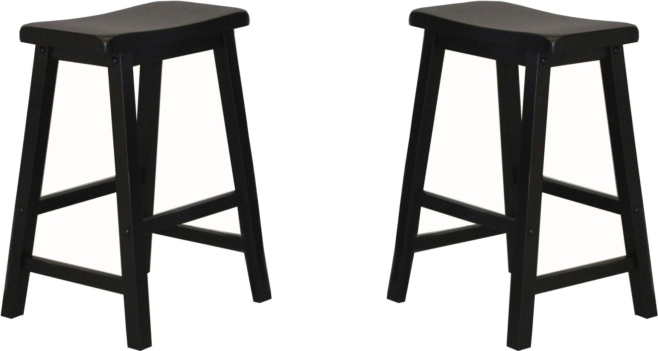 24 Quot Black Saddle Stool Set Of 2 From Eci Furniture