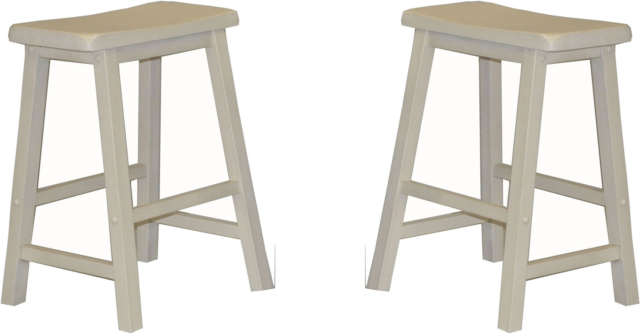24 Quot Antique White Saddle Stool Set Of 2 From Eci Furniture