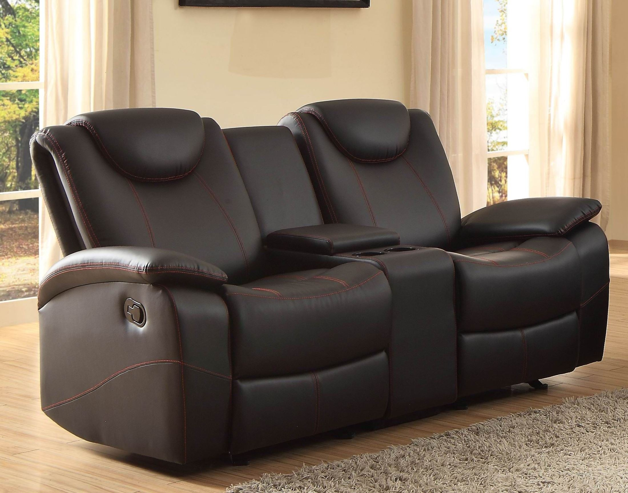 Talbot Black Double Glider Reclining Loveseat With Console From Homelegance 8524bk 2 Coleman