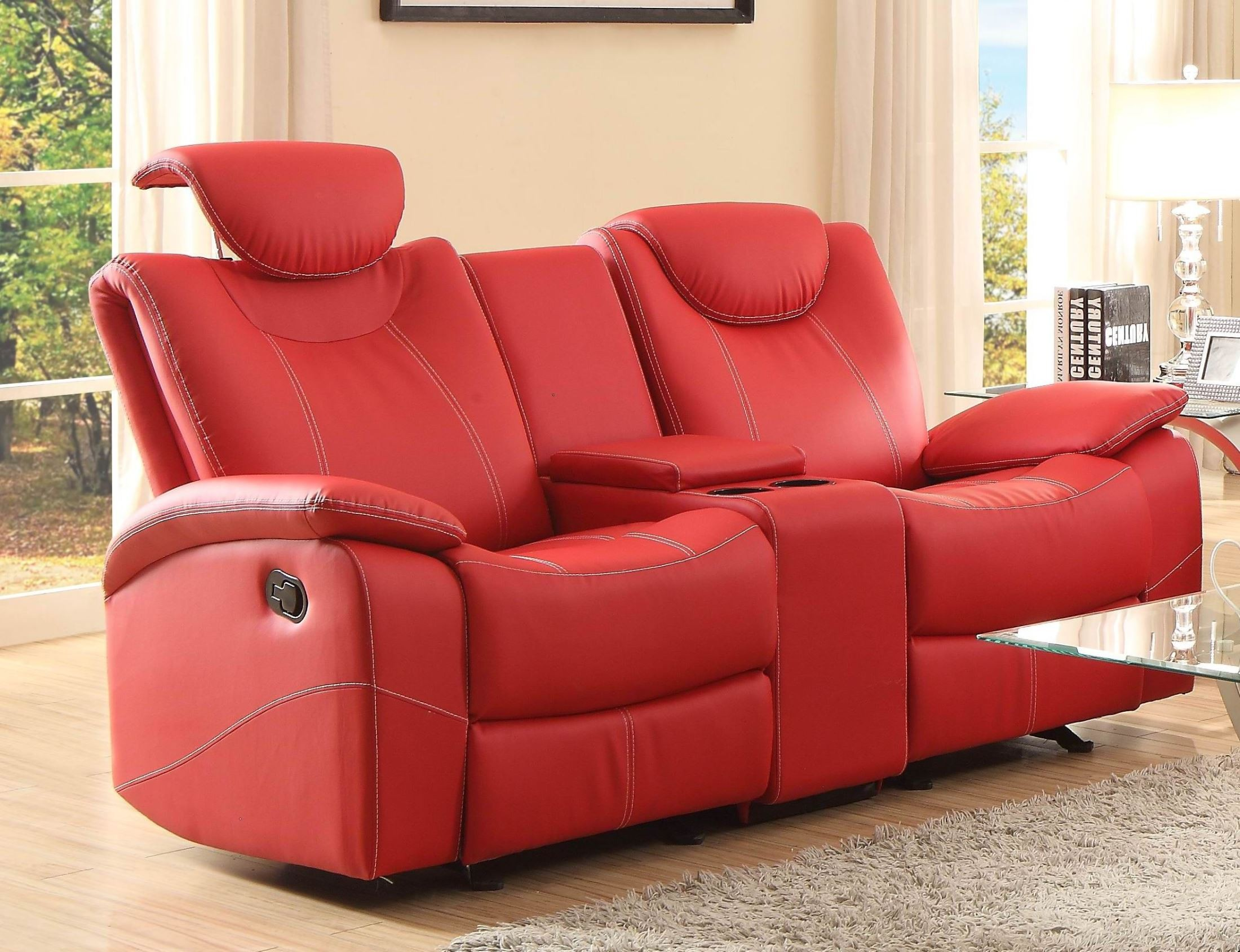 Talbot Red Double Glider Reclining Loveseat With Console From