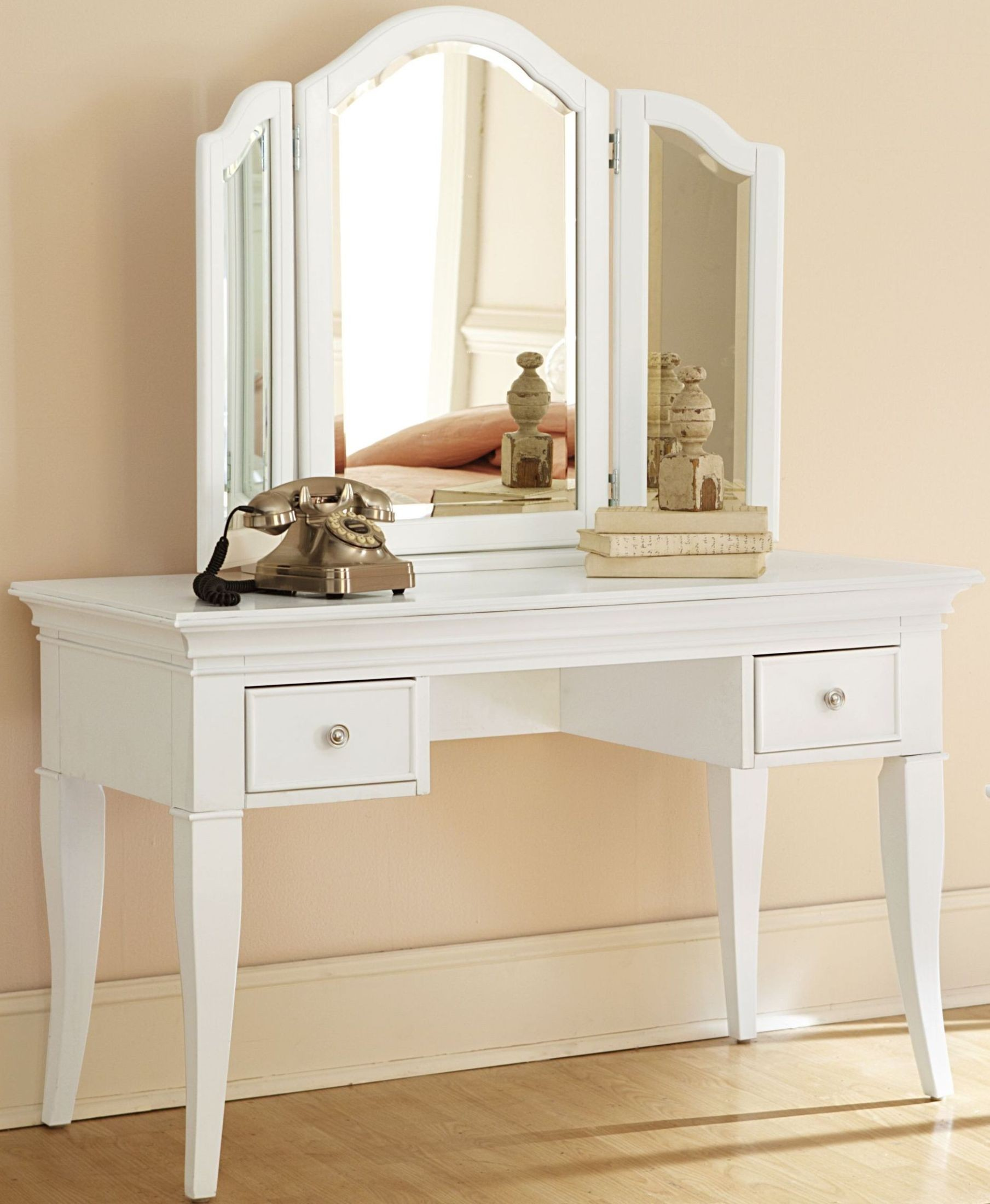 Walnut Street White Desk And Storage Vanity With Mirror