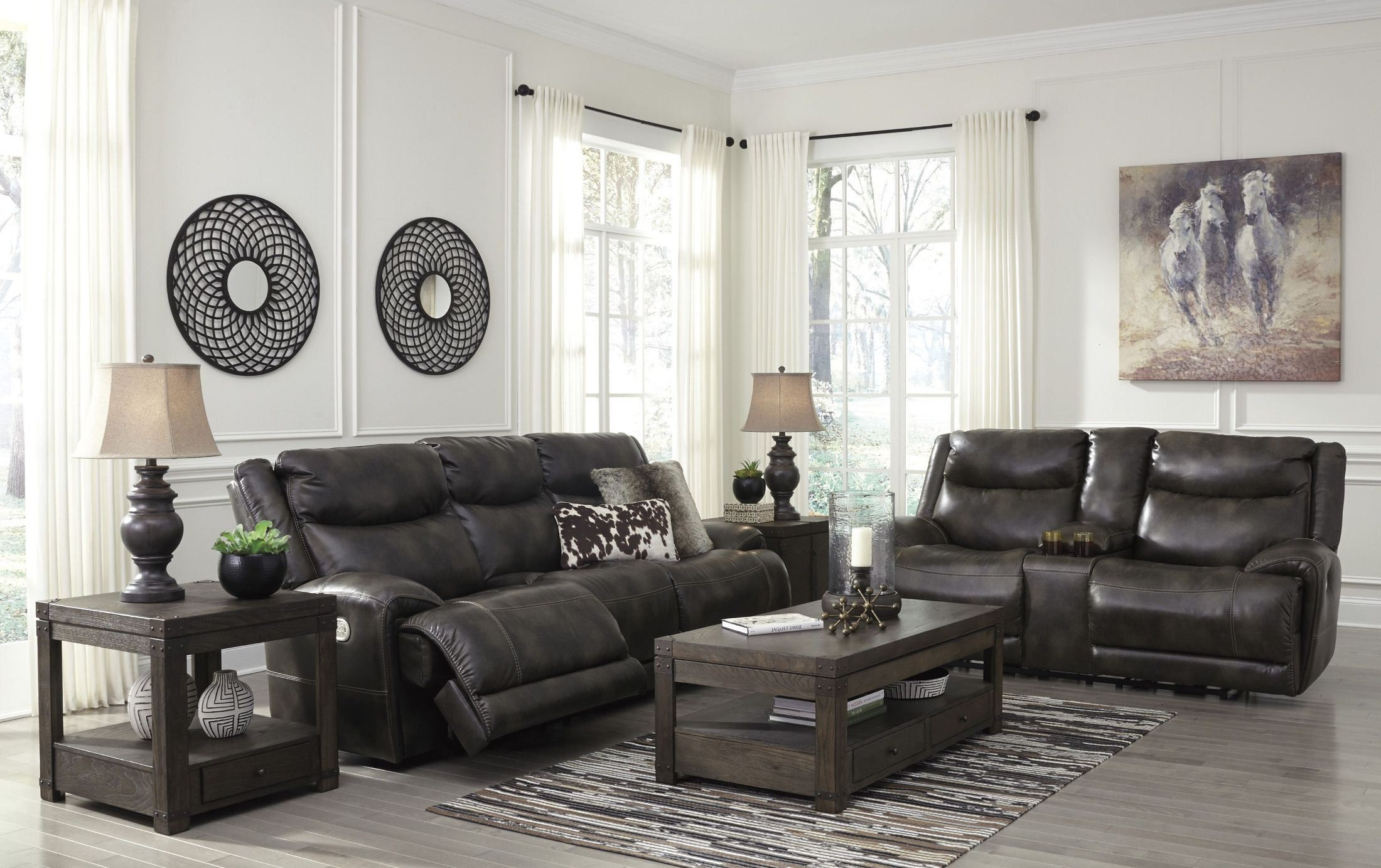 Brinlack Gray Power Reclining Living Room Set from Ashley   Coleman ...