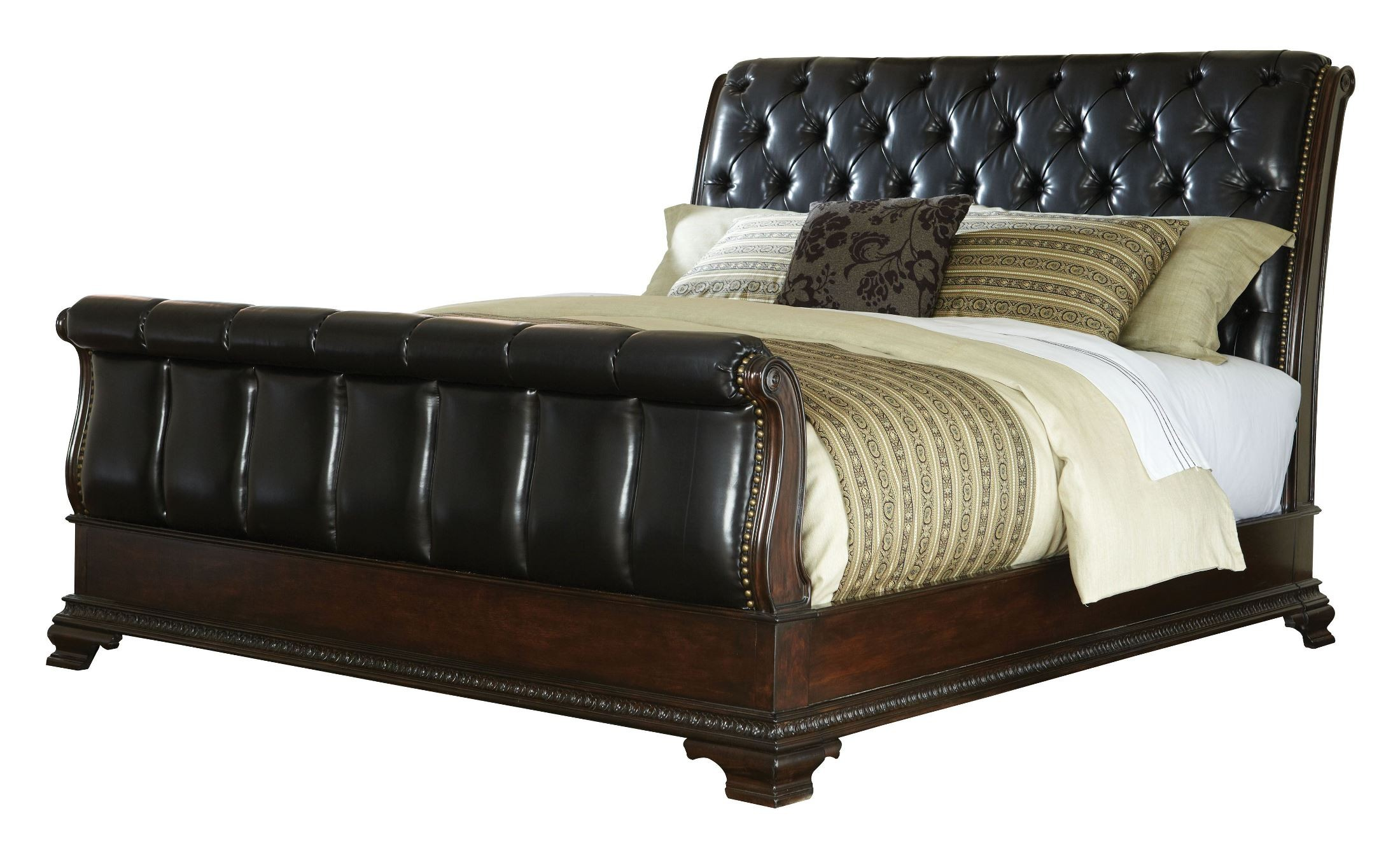 churchill cherry king upholstered sleigh bed from standard 86031 86033 86022 coleman furniture. Black Bedroom Furniture Sets. Home Design Ideas