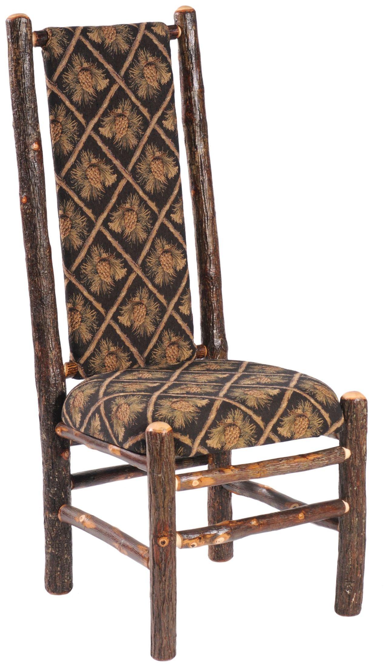 hickory standard fabric high back upholstered back side chair from fireside lodge 86070. Black Bedroom Furniture Sets. Home Design Ideas