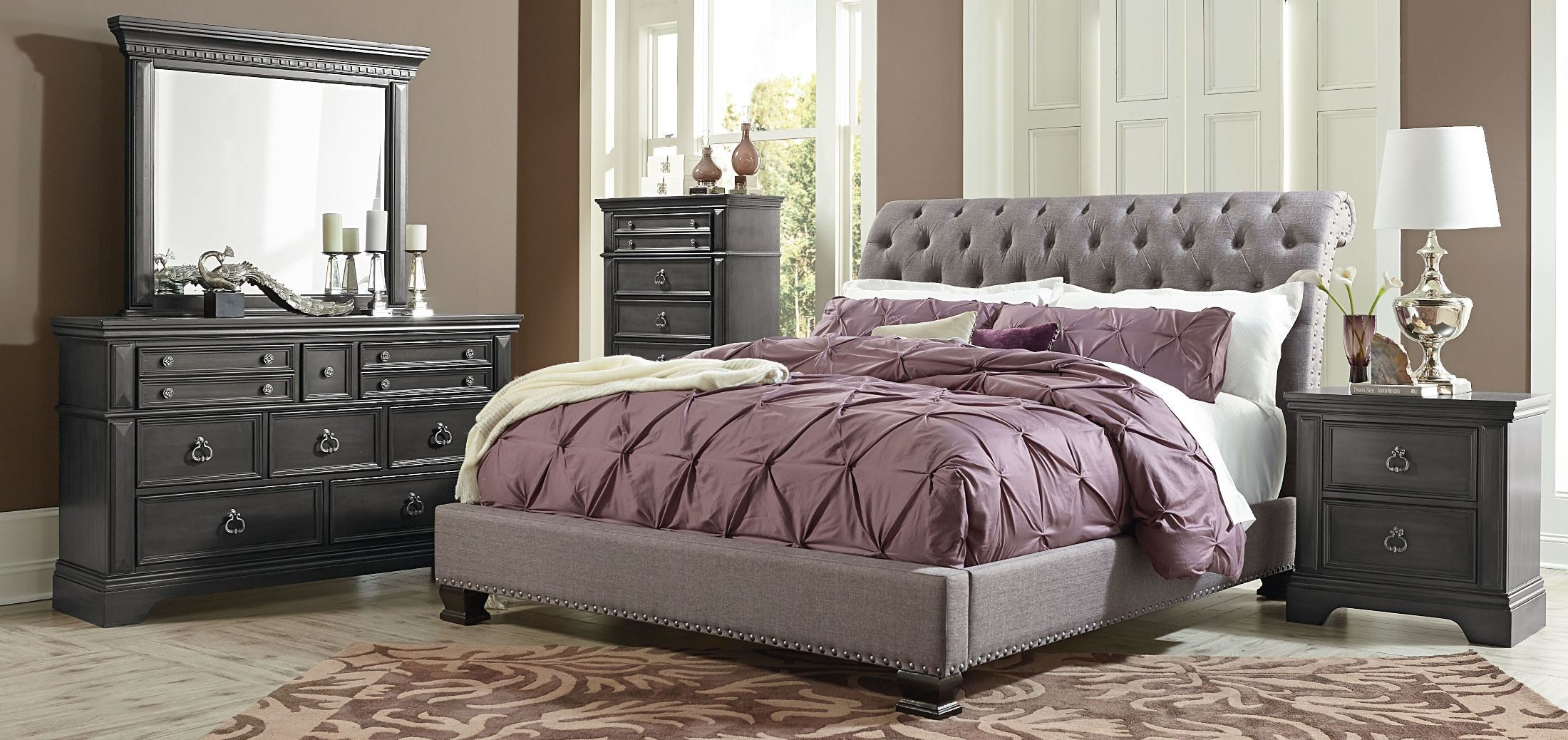 Garrison Soft Grey Upholstered Bedroom Set From Standard