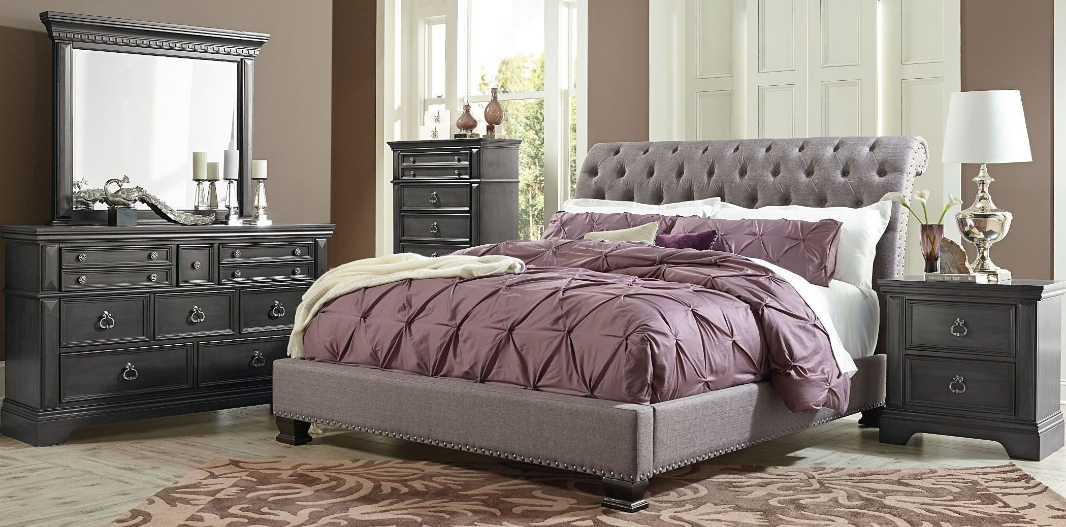 upholstered bedroom sets garrison soft grey upholstered bedroom set from standard 13698