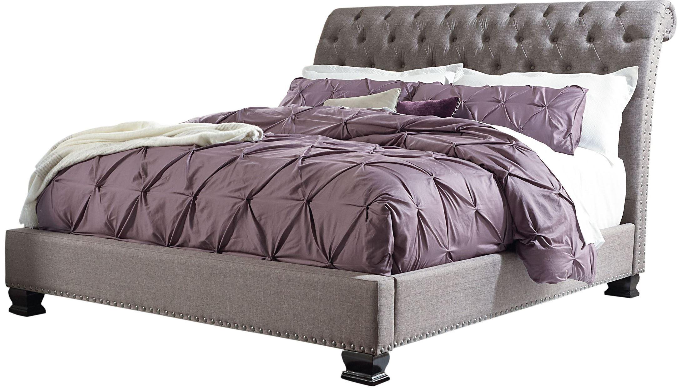 Garrison soft grey upholstered bedroom set from standard furniture coleman furniture for Standard furniture metro bedroom collection