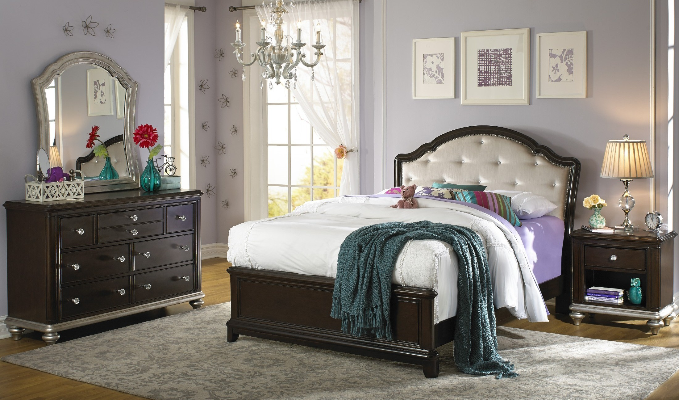 glamour youth black cherry panel bedroom set from samuel 13894 | 8688 532 533 rp 1 1