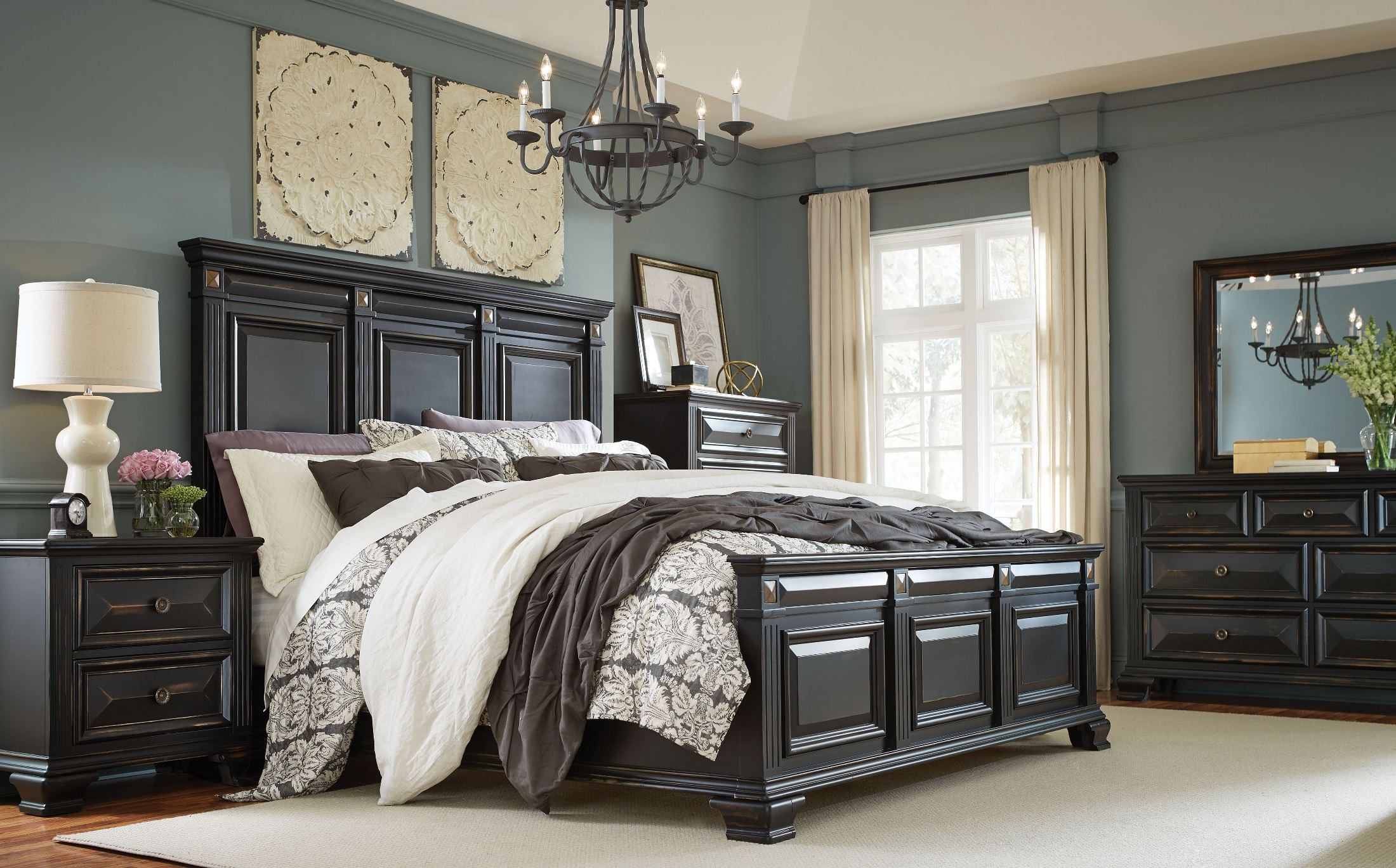 Passages vintage black panel bedroom set from standard for Where to get bedroom furniture