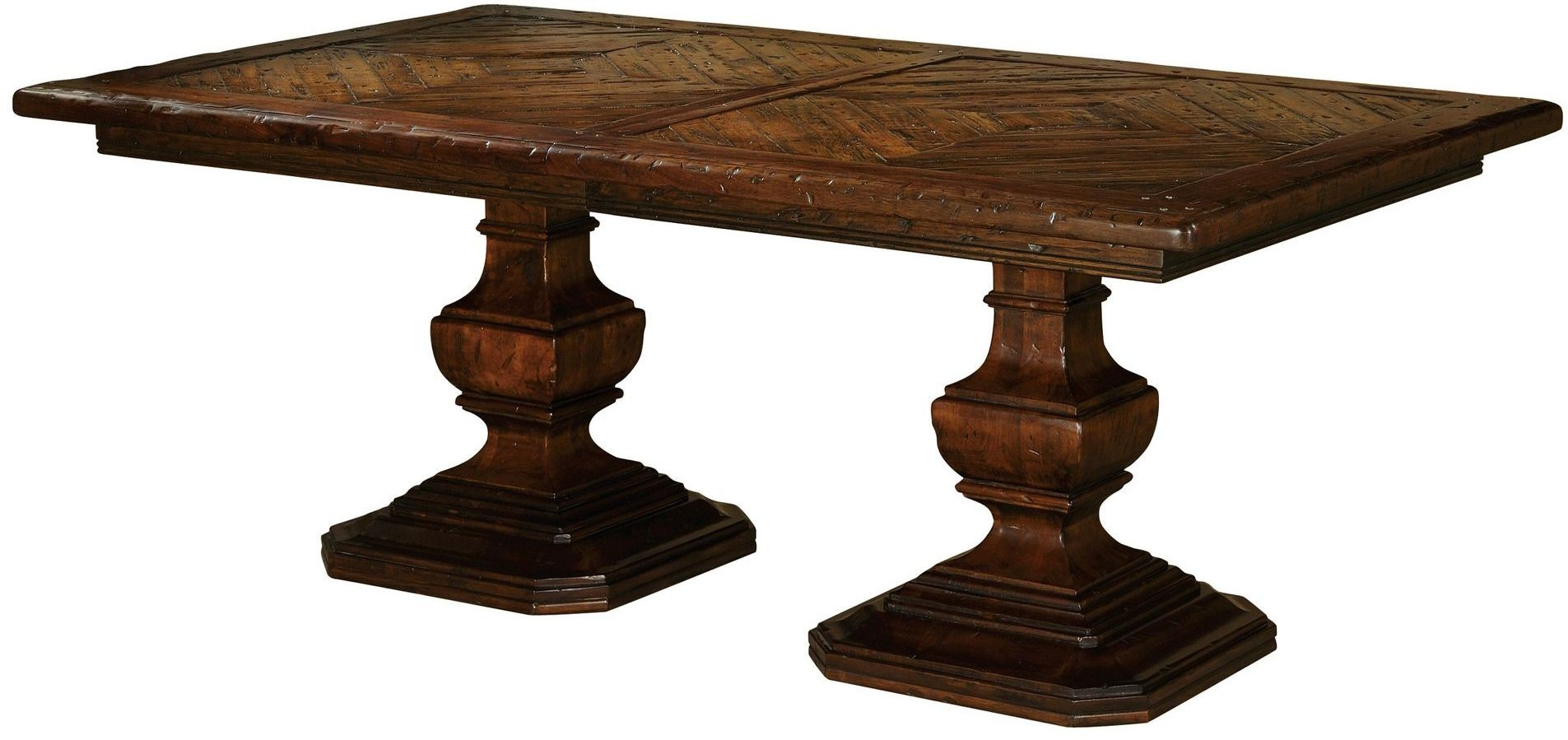 Rue de bac cognac extendable pedestal dining table from for Pedestal dining table