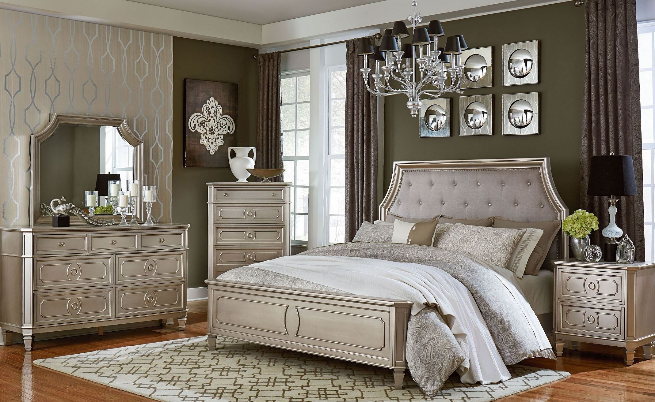 White Queen Bedroom Set Windsor Silver Panel Bedroom Set From Standard Furniture