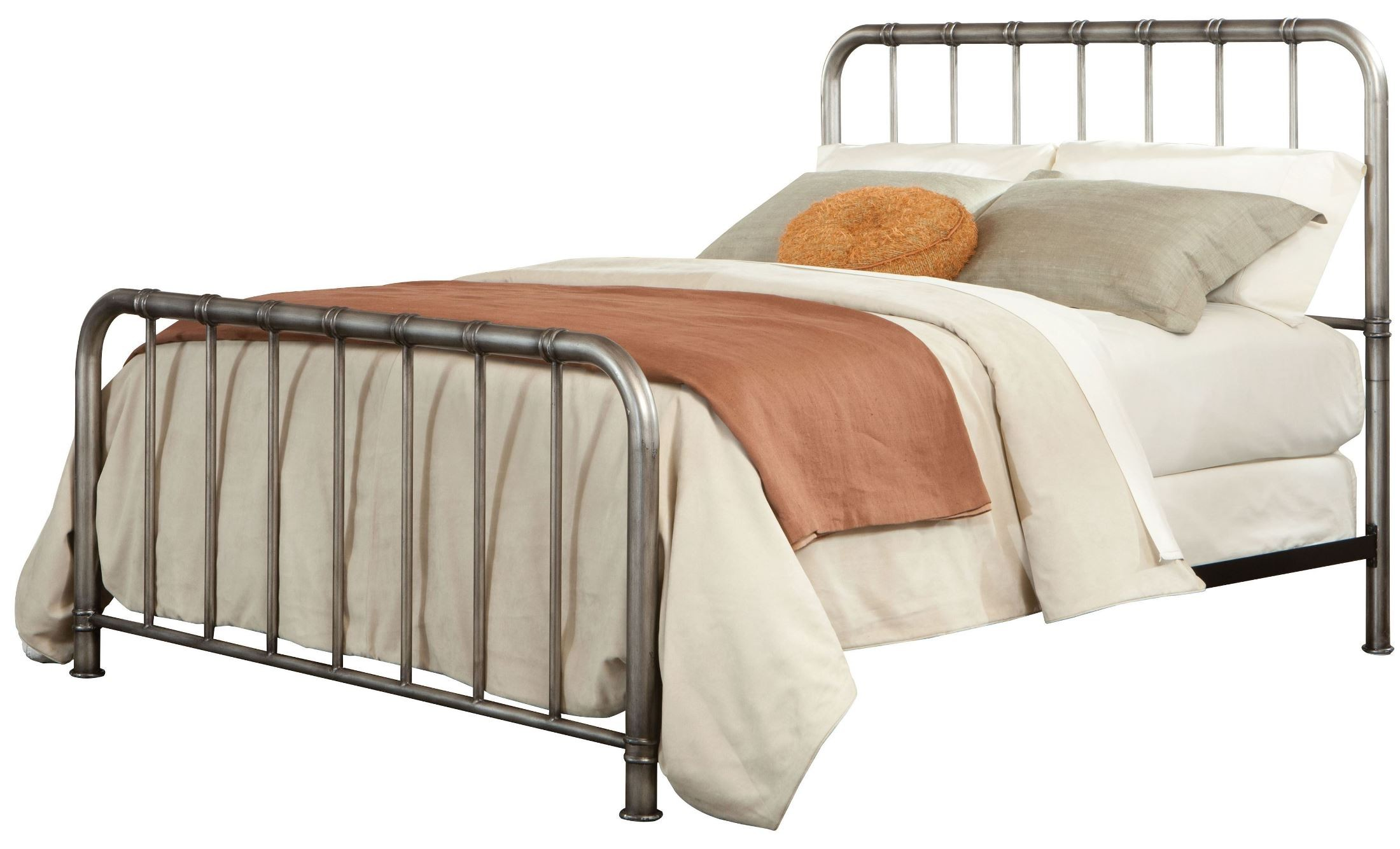Tristen Antique Pewter King Metal Bed From Standard