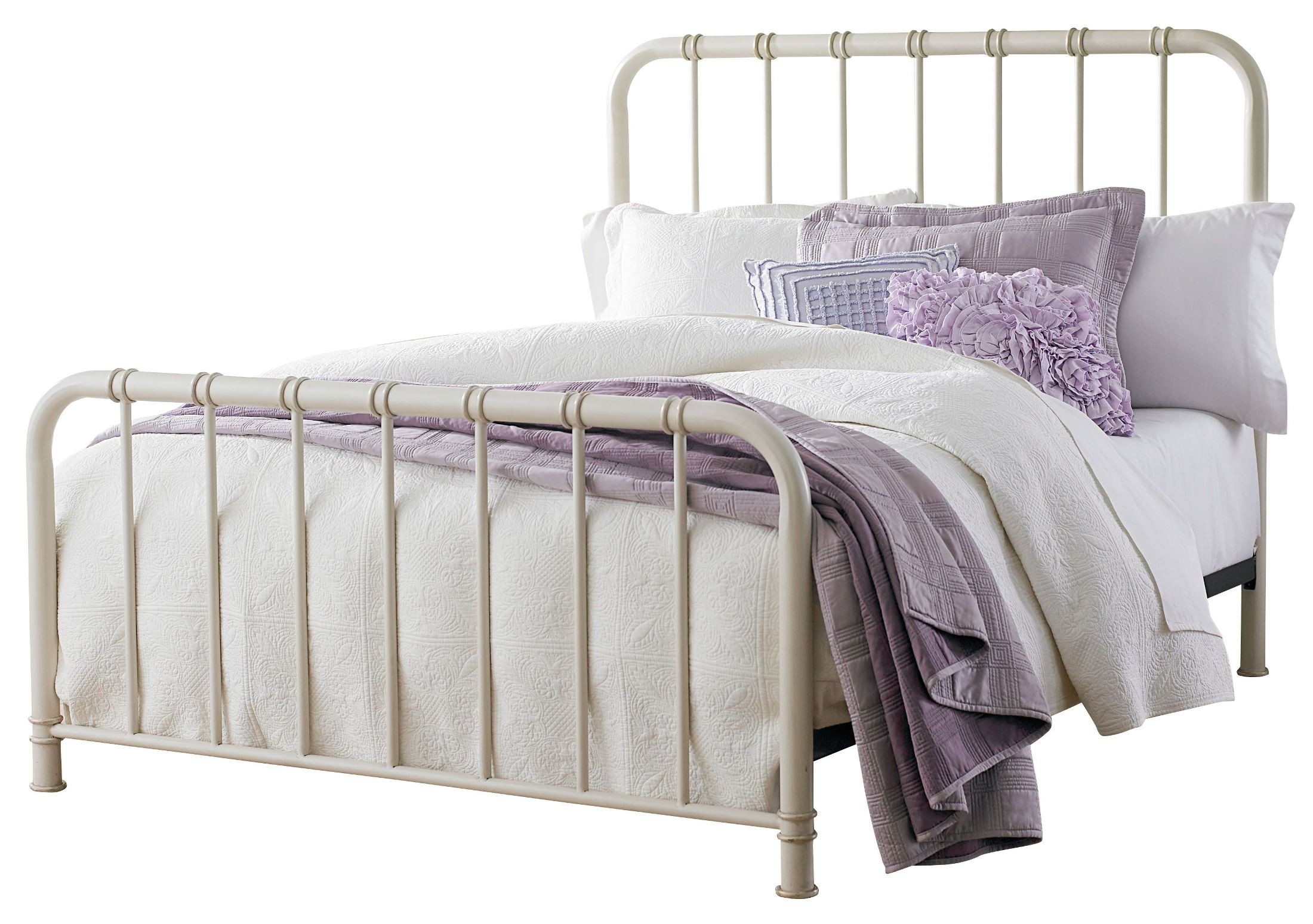 White Metal Bed Queen: Tristen White Queen Metal Bed From Standard Furniture