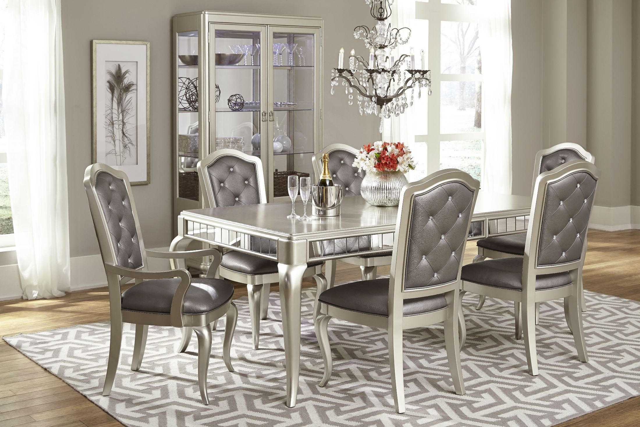 diva rectangular extendable leg dining room set from. Black Bedroom Furniture Sets. Home Design Ideas