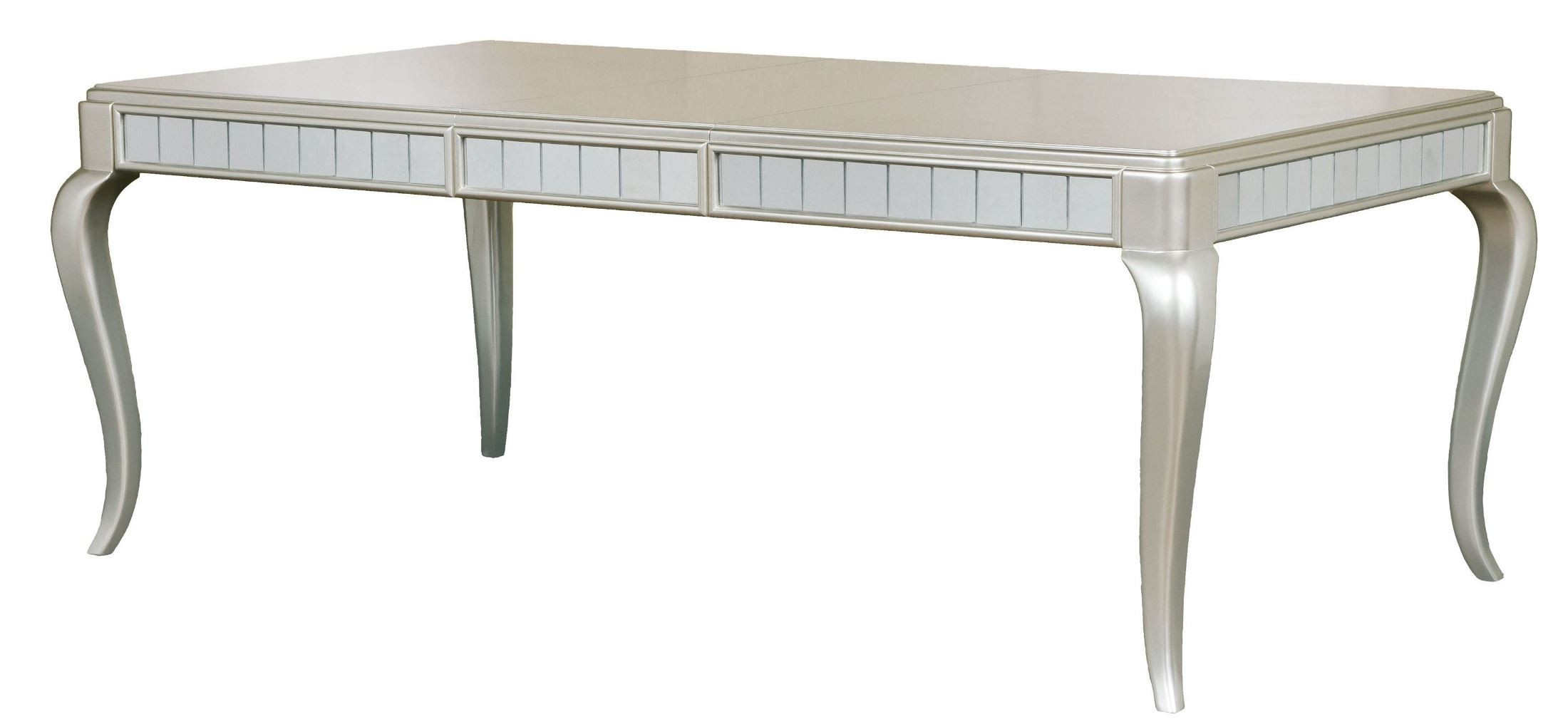 diva metallic rectangular extendable leg dining table from