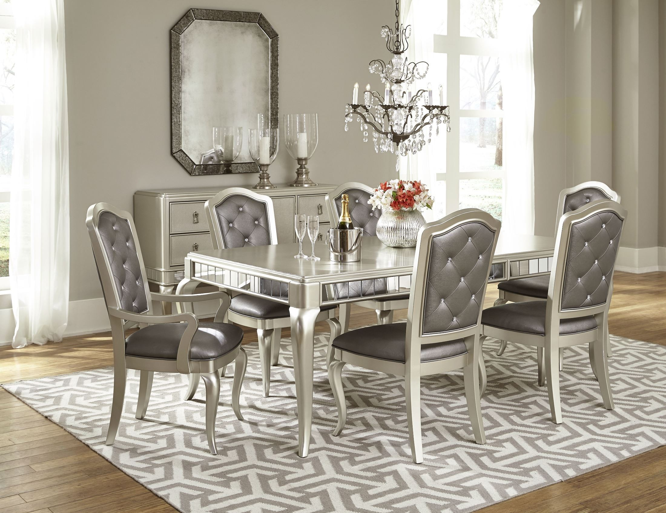 Superbe Diva Rectangular Extendable Leg Dining Room Set. 791718. 791717