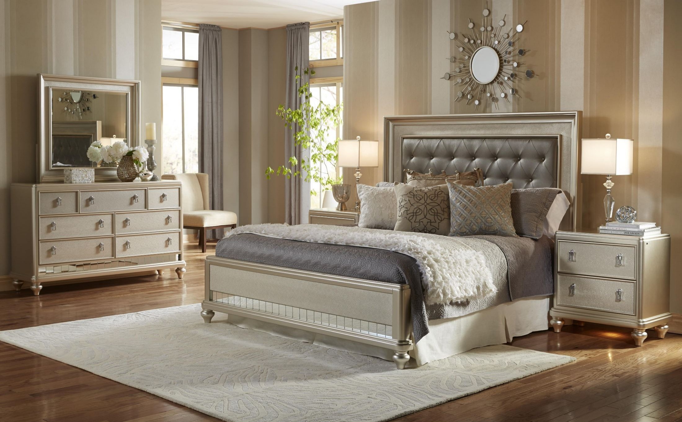 California King Bedroom Set. Diva Metallic Panel Bedroom Set from Samuel Lawrence  8808 255 257 400