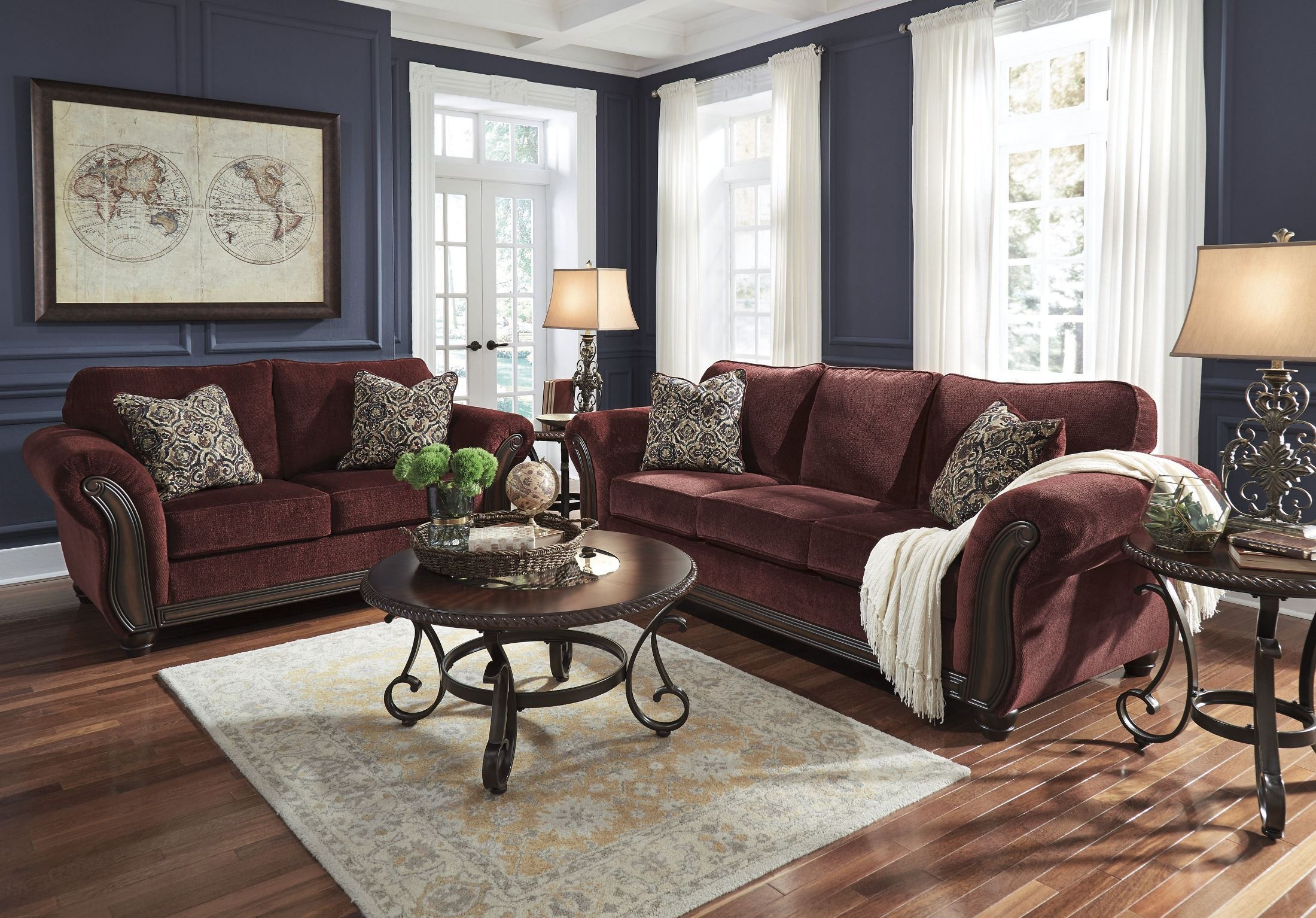 amazing burgundy living room furniture | Chesterbrook Burgundy Living Room Set from Ashley (8810238 ...