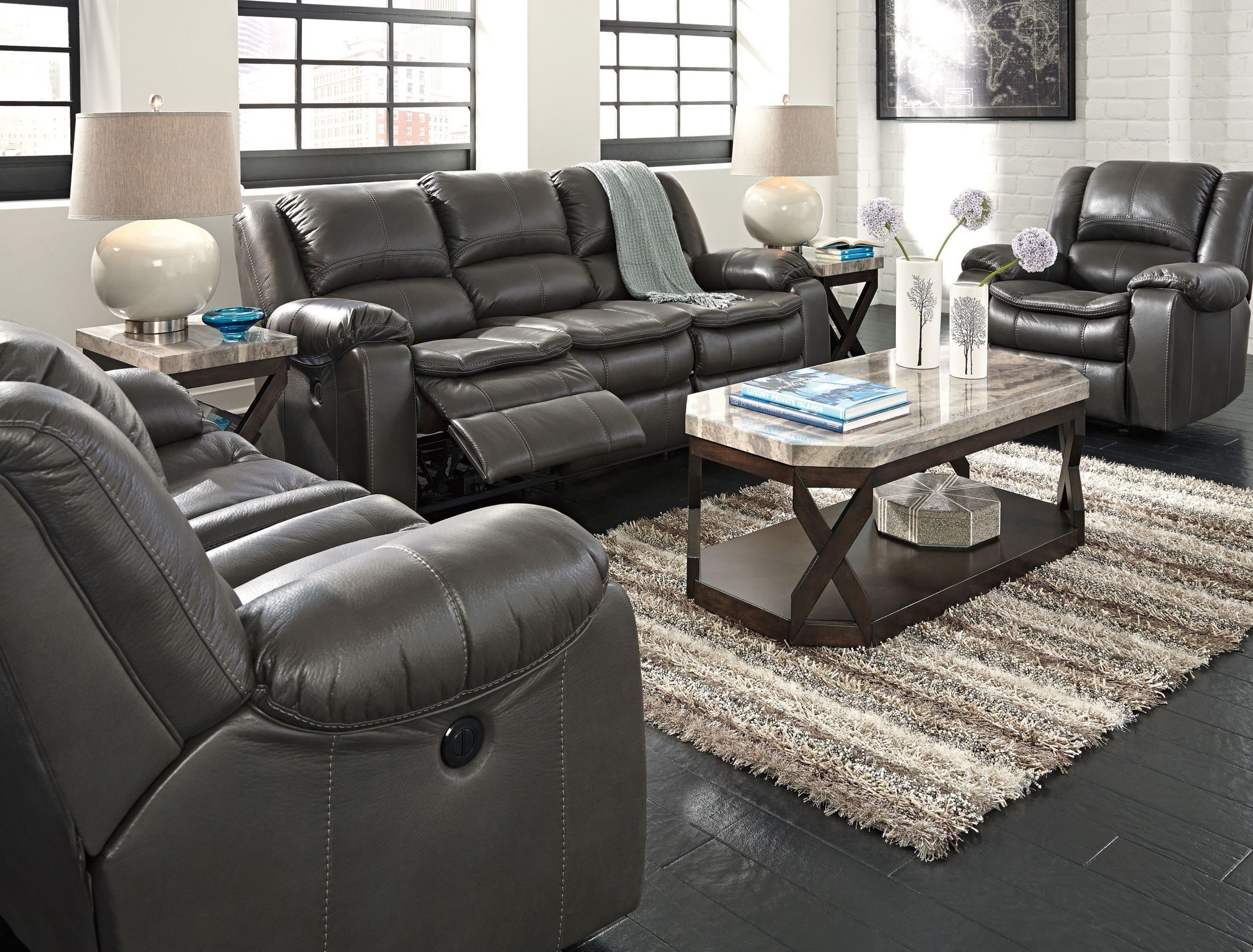 Long Knight Gray Power Reclining Living Room Set From