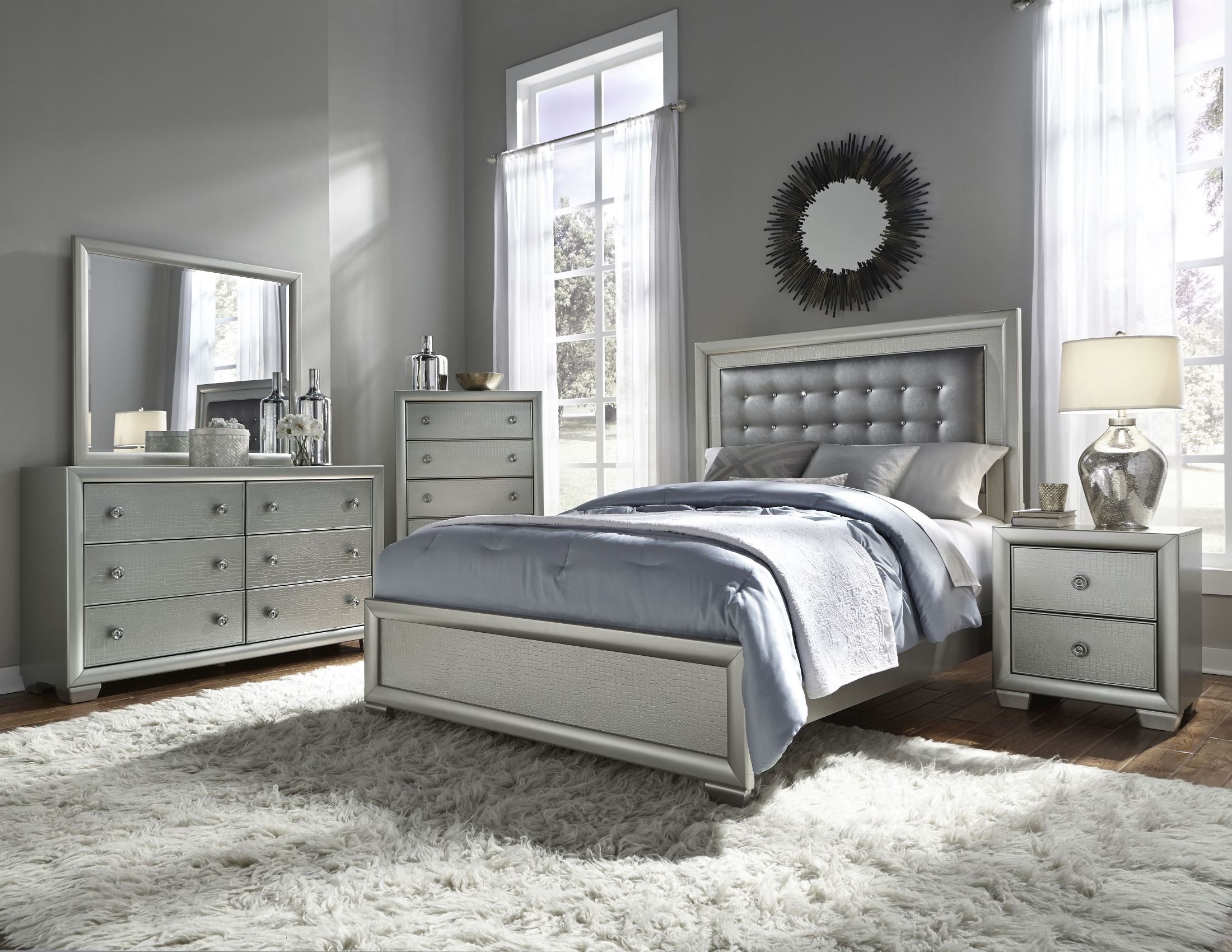 Celestial upholstered panel bedroom set from samuel for Bedroom furniture ideas